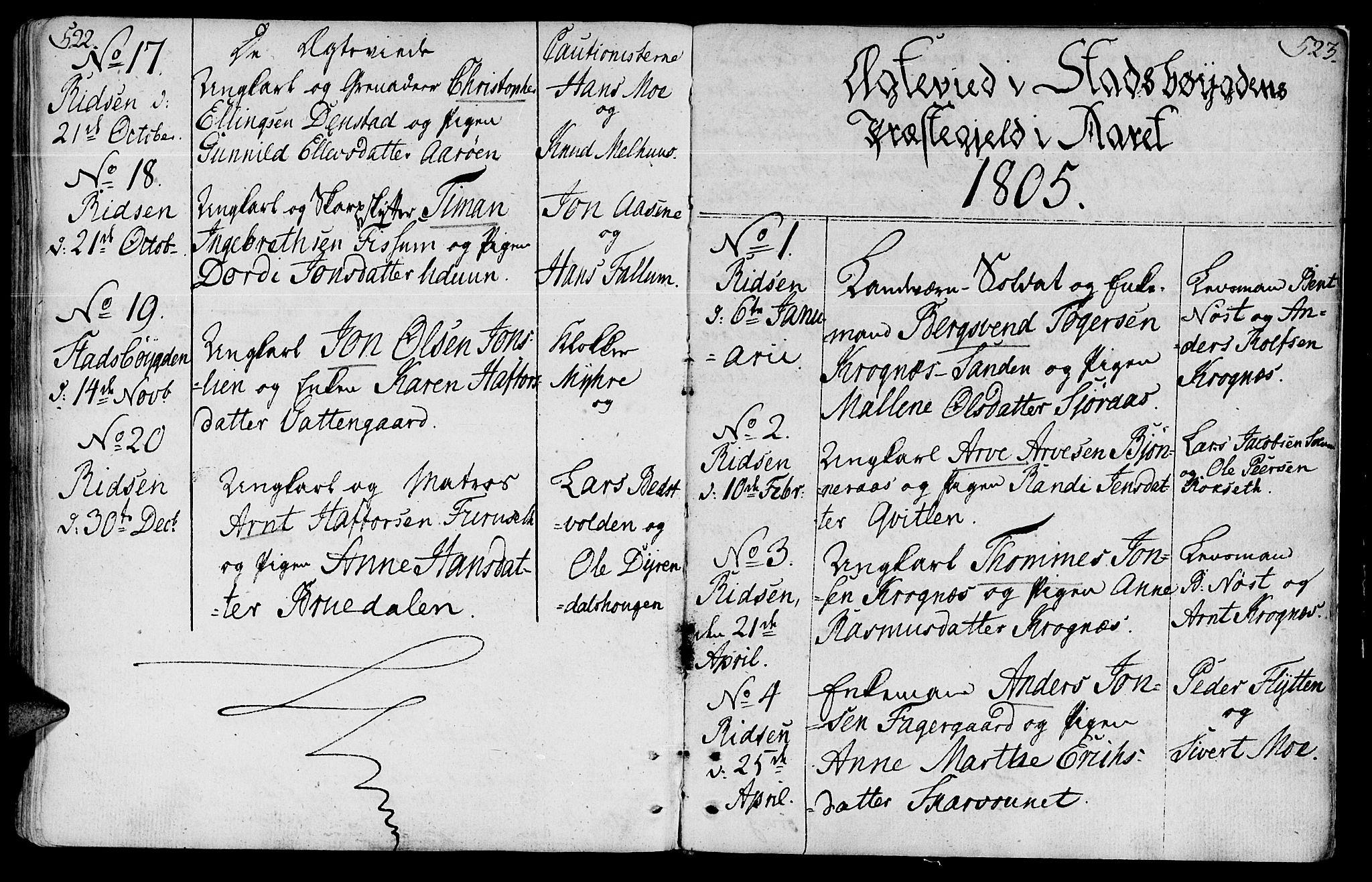 SAT, Ministerialprotokoller, klokkerbøker og fødselsregistre - Sør-Trøndelag, 646/L0606: Ministerialbok nr. 646A04, 1791-1805, s. 522-523