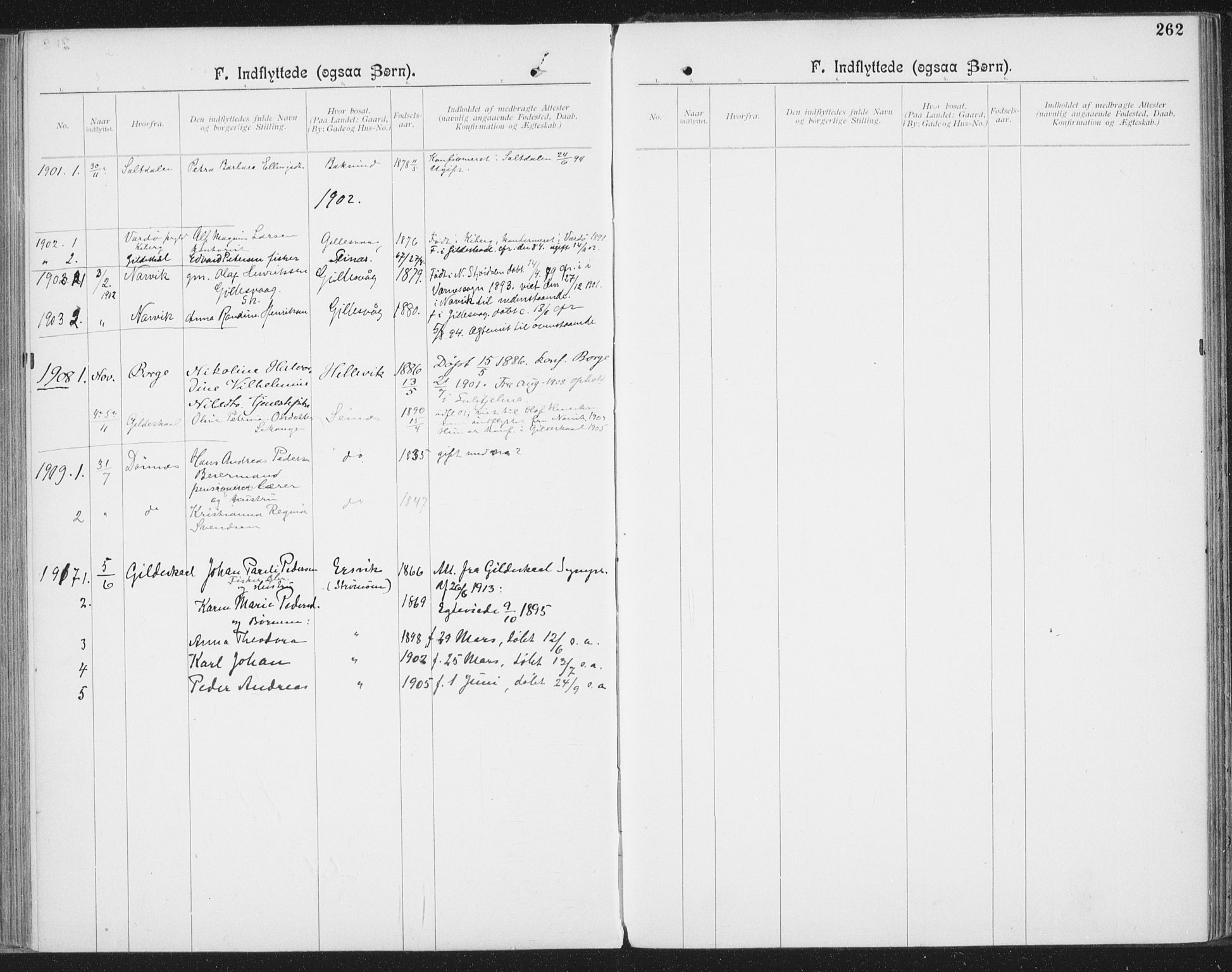 SAT, Ministerialprotokoller, klokkerbøker og fødselsregistre - Nordland, 804/L0081: Ministerialbok nr. 804A02, 1901-1915, s. 262