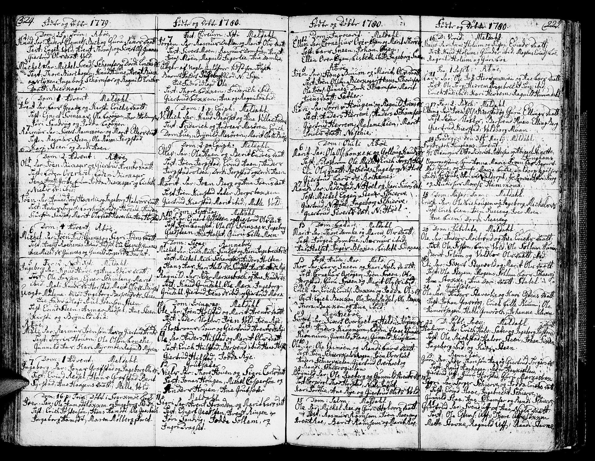 SAT, Ministerialprotokoller, klokkerbøker og fødselsregistre - Sør-Trøndelag, 672/L0852: Ministerialbok nr. 672A05, 1776-1815, s. 324-325