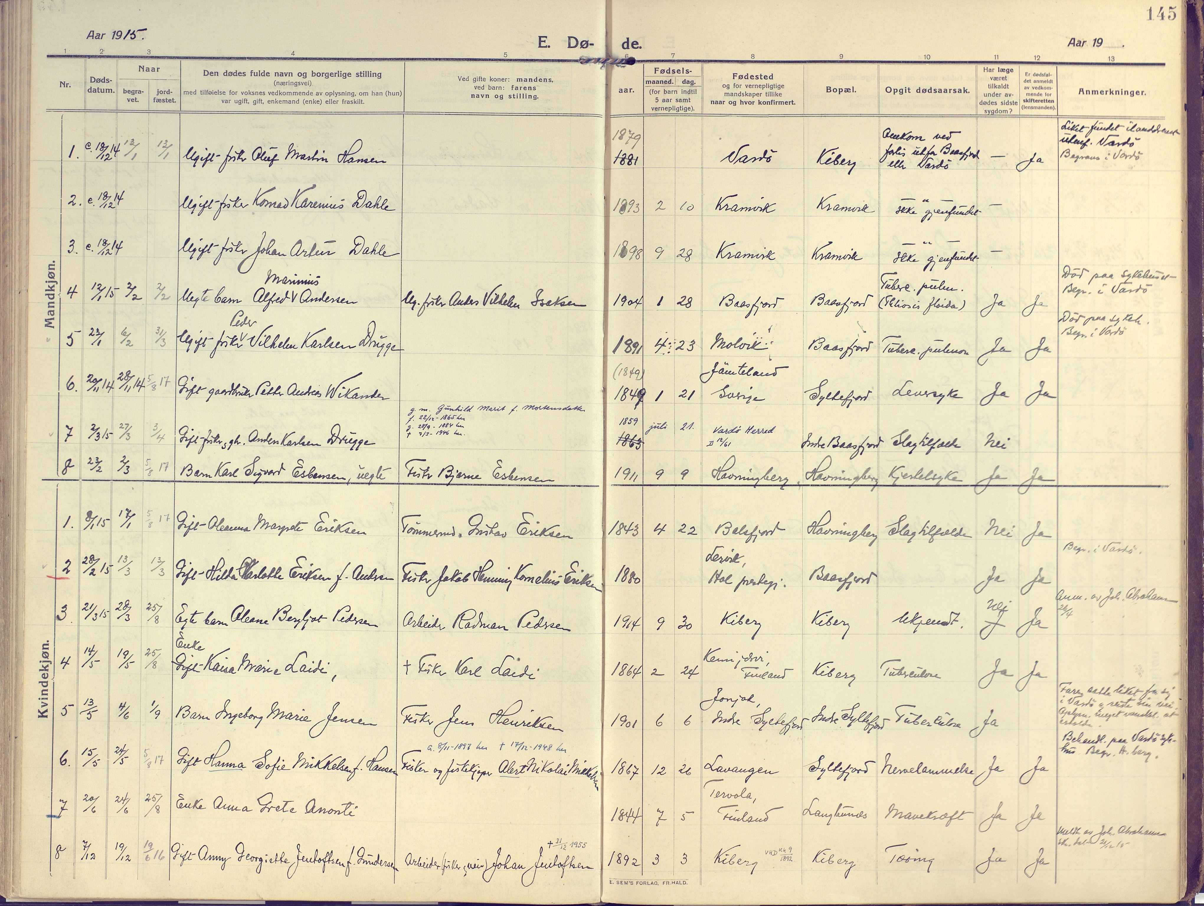 SATØ, Vardø sokneprestkontor, H/Ha/L0013kirke: Ministerialbok nr. 13, 1912-1928, s. 145