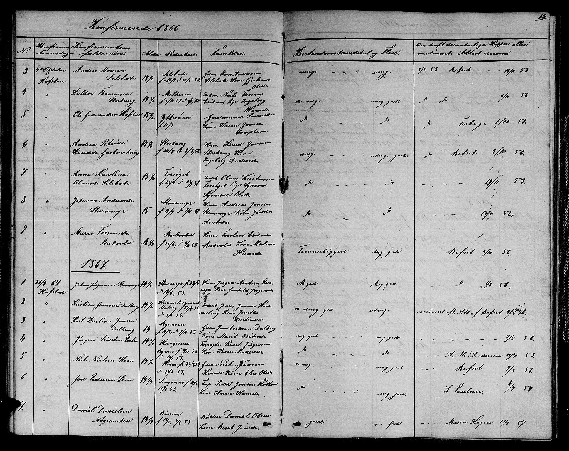 SAT, Ministerialprotokoller, klokkerbøker og fødselsregistre - Sør-Trøndelag, 611/L0353: Klokkerbok nr. 611C01, 1854-1881, s. 64