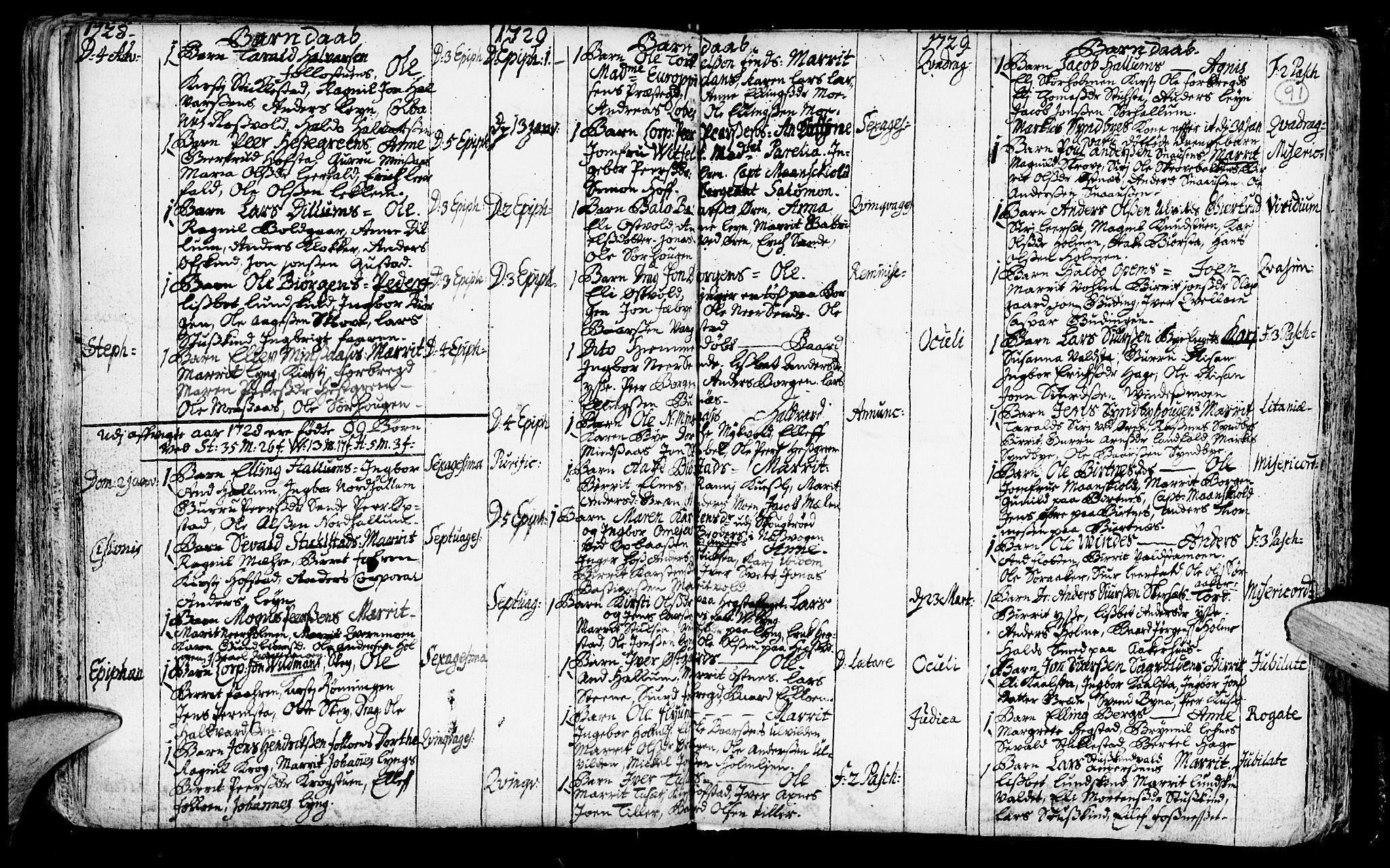 SAT, Ministerialprotokoller, klokkerbøker og fødselsregistre - Nord-Trøndelag, 723/L0230: Ministerialbok nr. 723A01, 1705-1747, s. 91