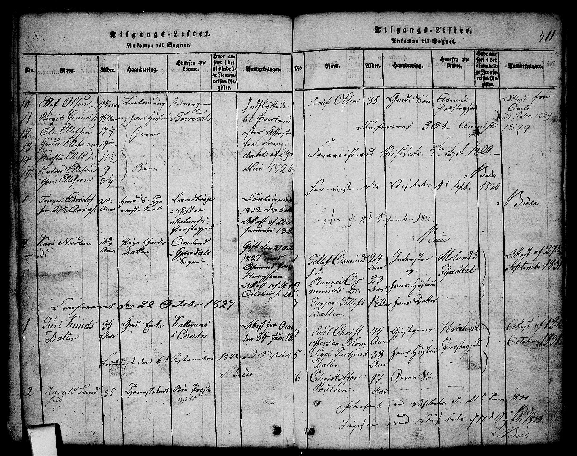 SAKO, Nissedal kirkebøker, G/Gb/L0001: Klokkerbok nr. II 1, 1814-1862, s. 311