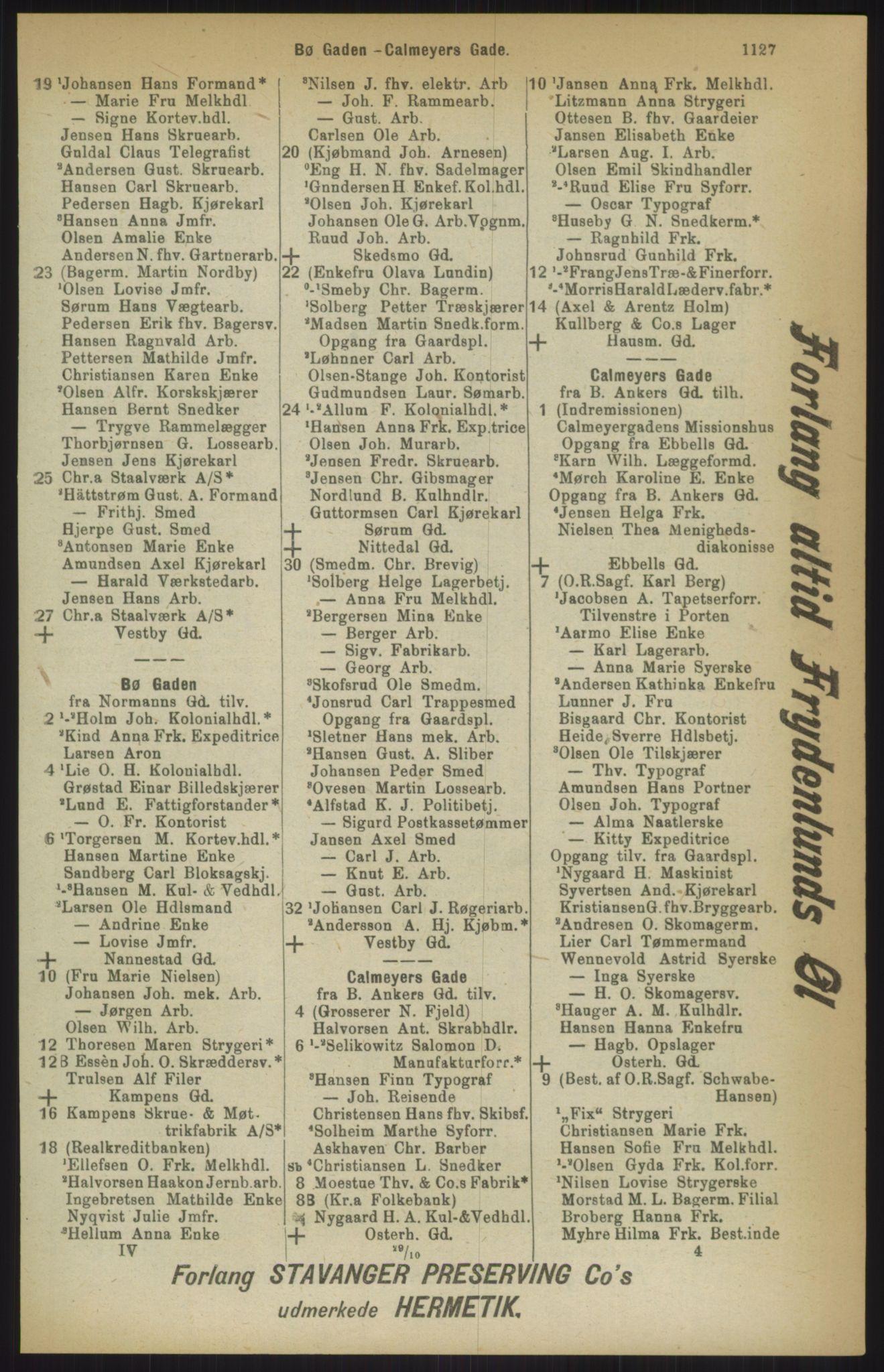 RA, Kristiania adressebok (publikasjon)*, 1911, s. 1127