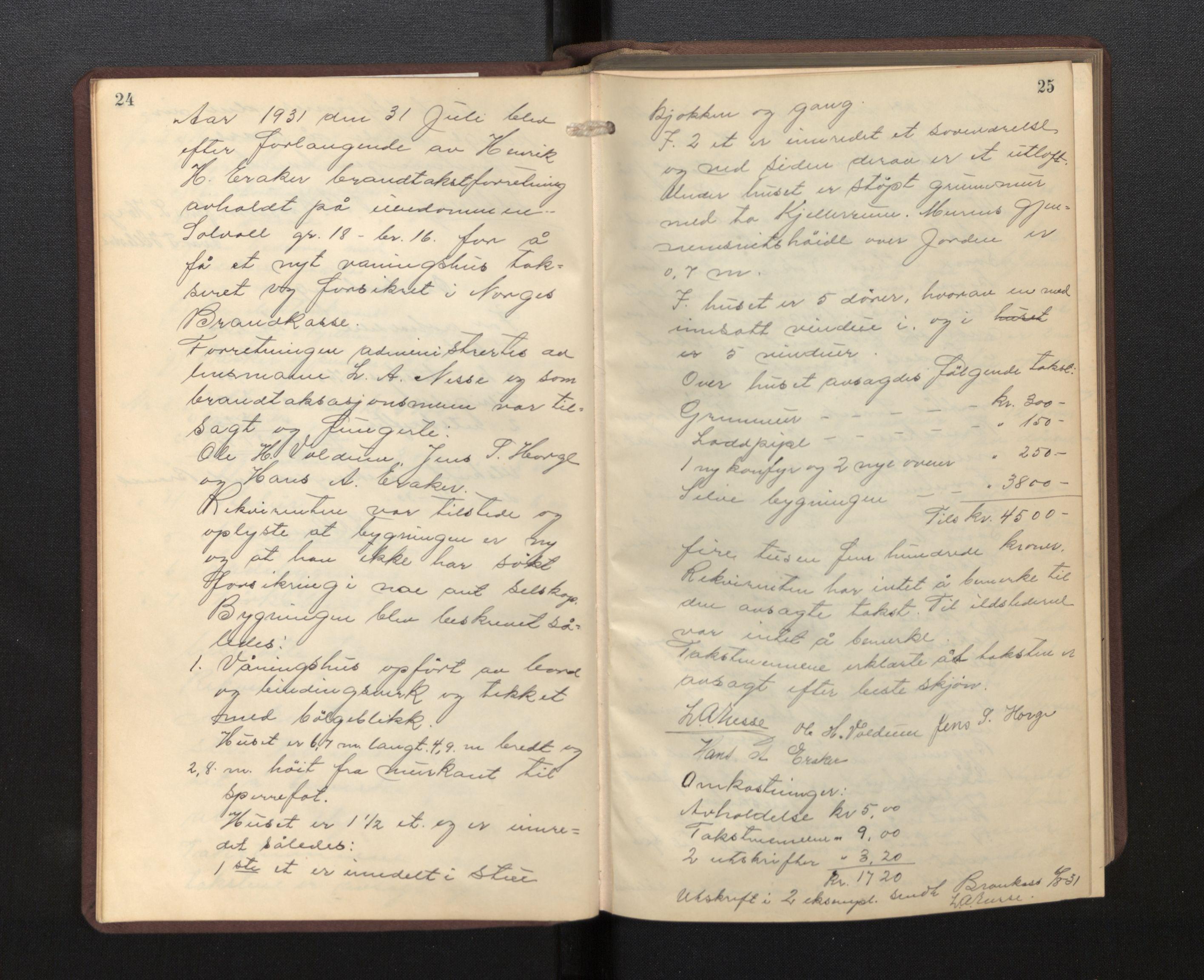 SAB, Lensmannen i Borgund, 0012/L0002: Branntakstprotokoll, 1929-1933, s. 24-25