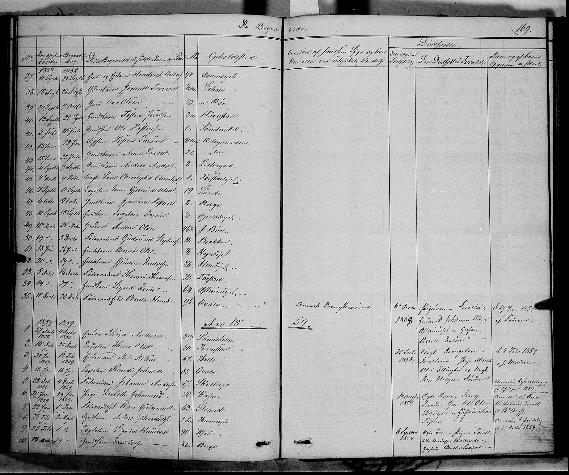 SAH, Vang prestekontor, Valdres, Ministerialbok nr. 6, 1846-1864, s. 169