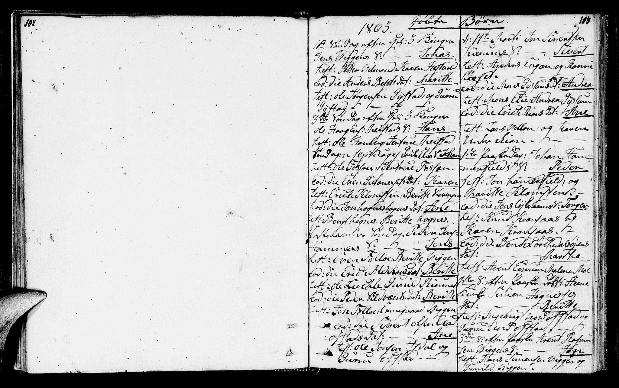 SAT, Ministerialprotokoller, klokkerbøker og fødselsregistre - Sør-Trøndelag, 665/L0769: Ministerialbok nr. 665A04, 1803-1816, s. 102-103