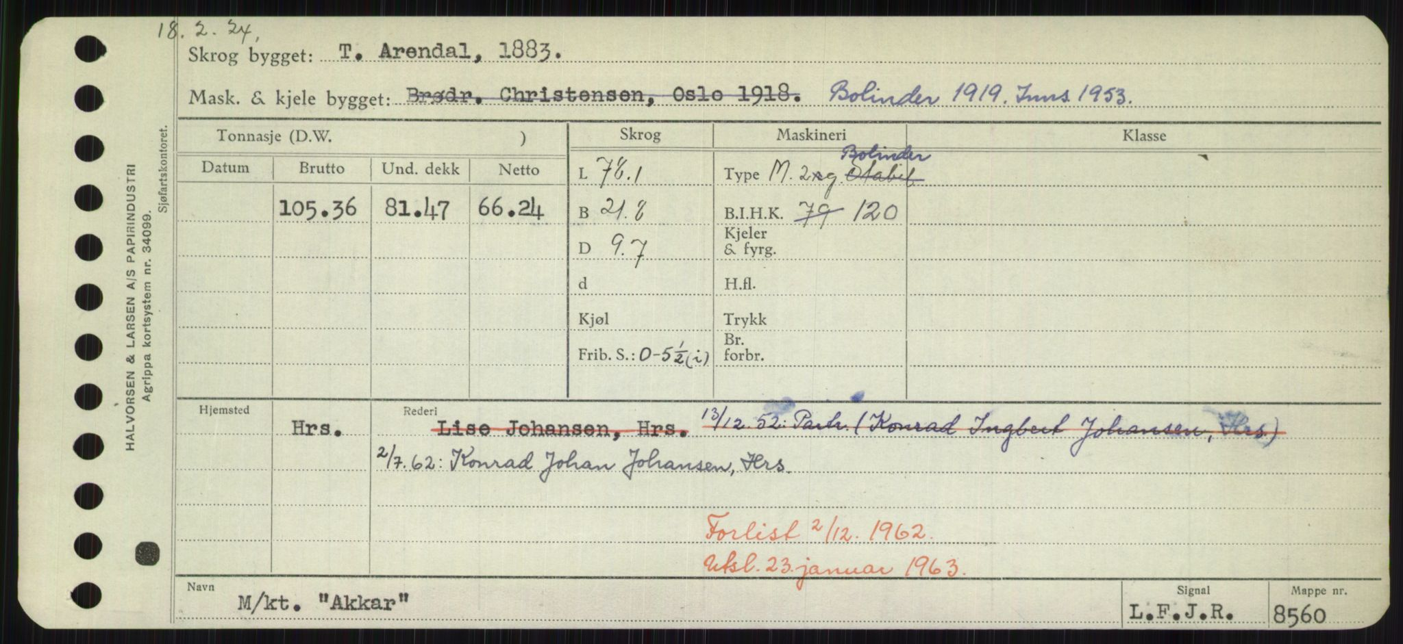 RA, Sjøfartsdirektoratet med forløpere, Skipsmålingen, H/Hd/L0001: Fartøy, A-Anv, s. 193