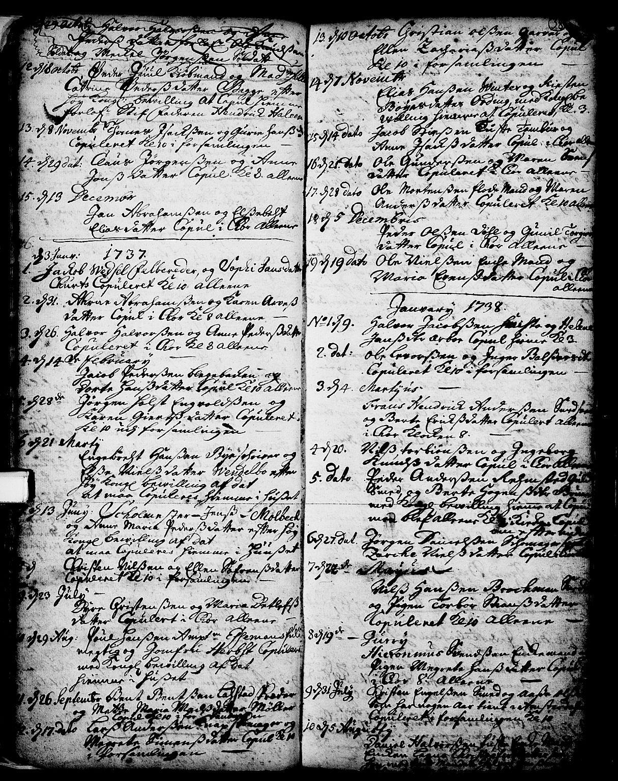 SAKO, Skien kirkebøker, F/Fa/L0002: Ministerialbok nr. 2, 1716-1757, s. 38