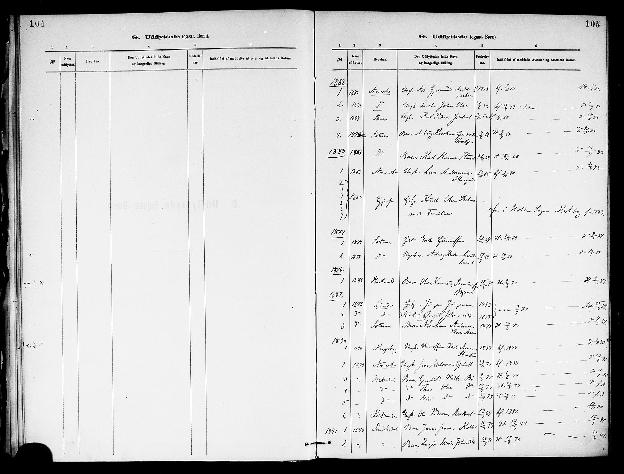 SAKO, Holla kirkebøker, F/Fa/L0009: Ministerialbok nr. 9, 1881-1897, s. 105