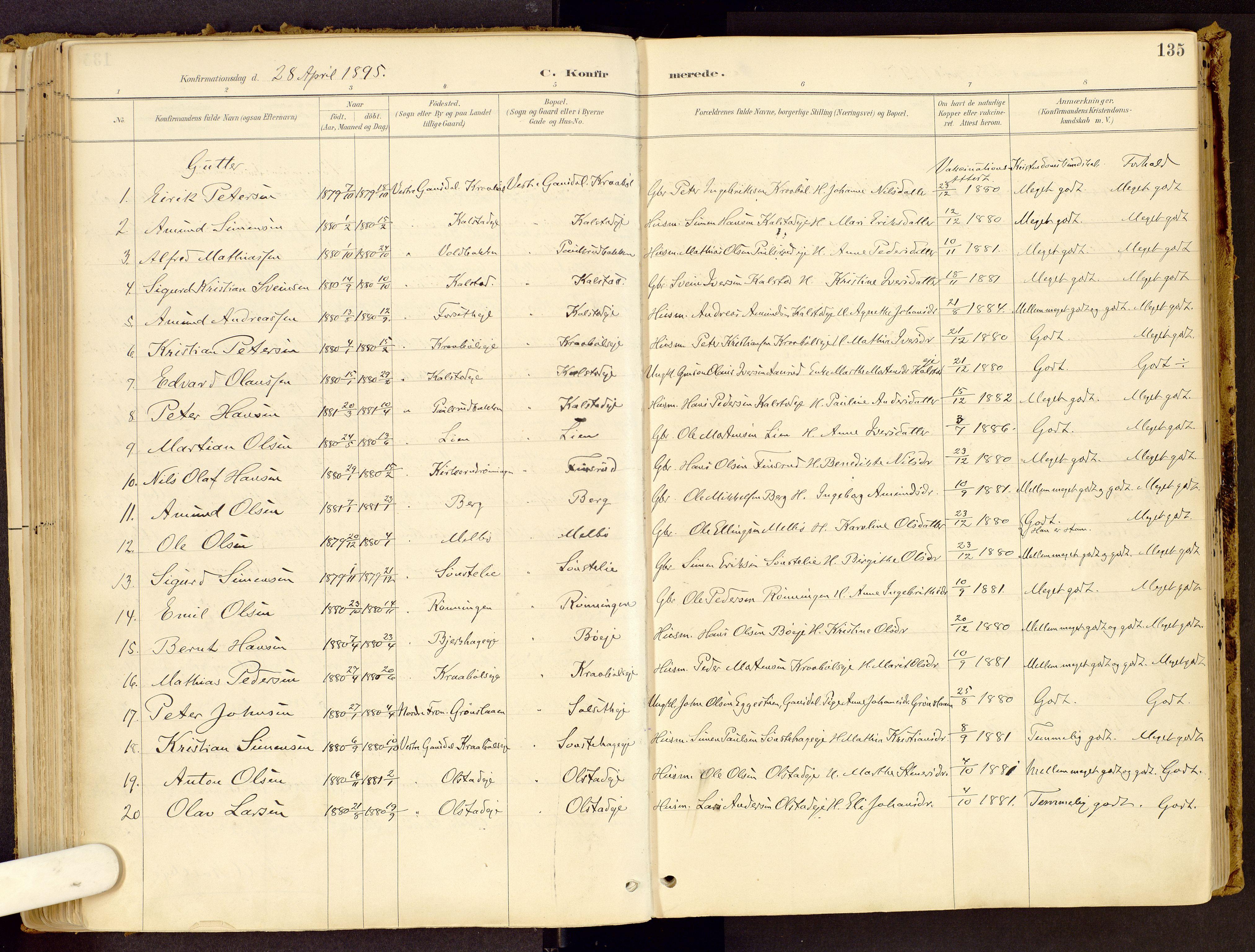 SAH, Vestre Gausdal prestekontor, Ministerialbok nr. 1, 1887-1914, s. 135