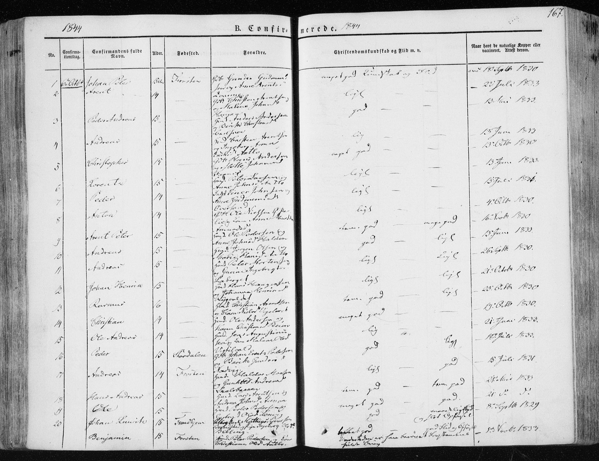 SAT, Ministerialprotokoller, klokkerbøker og fødselsregistre - Nord-Trøndelag, 713/L0115: Ministerialbok nr. 713A06, 1838-1851, s. 167