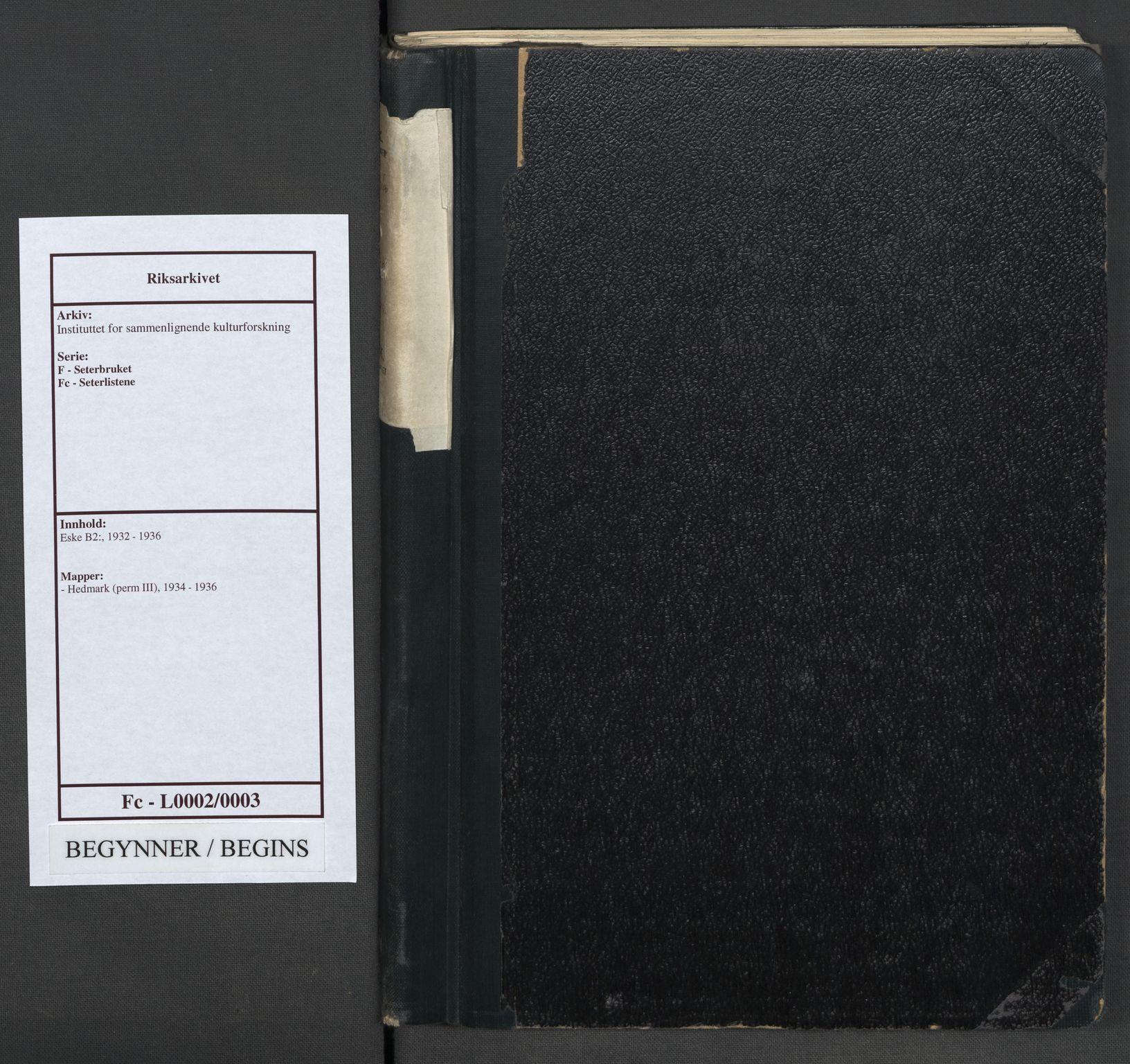 RA, Instituttet for sammenlignende kulturforskning, F/Fc/L0002: Eske B2:, 1934-1936, s. upaginert