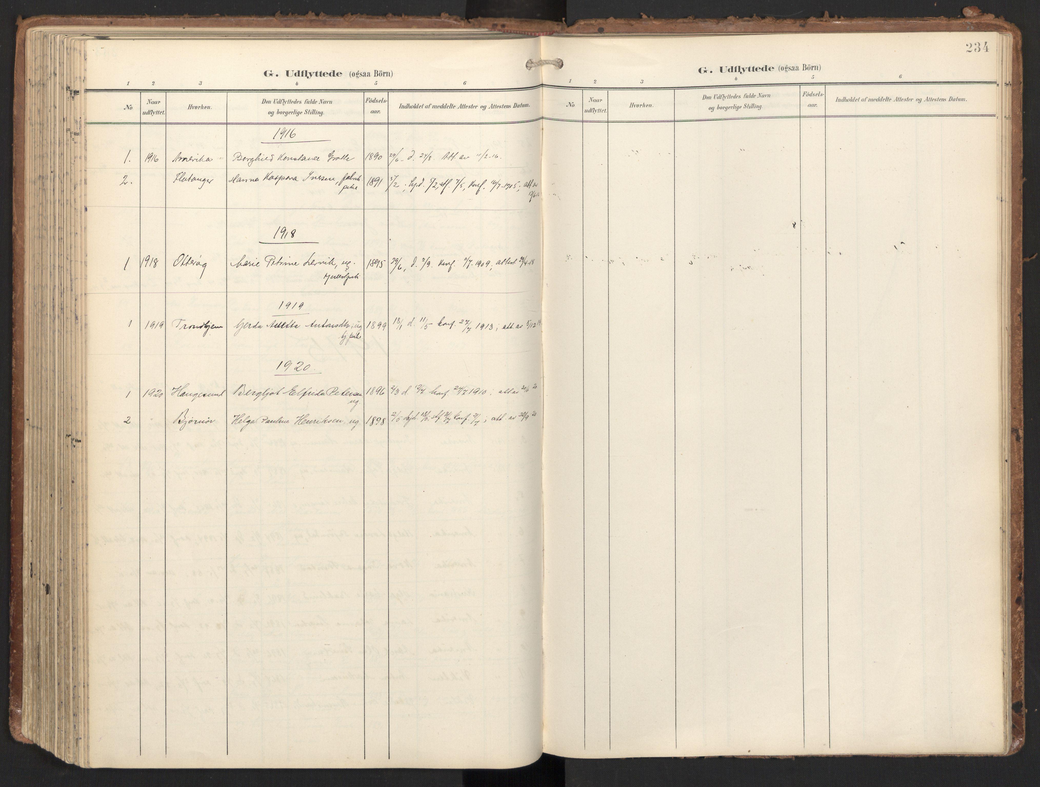 SAT, Ministerialprotokoller, klokkerbøker og fødselsregistre - Nord-Trøndelag, 784/L0677: Ministerialbok nr. 784A12, 1900-1920, s. 234