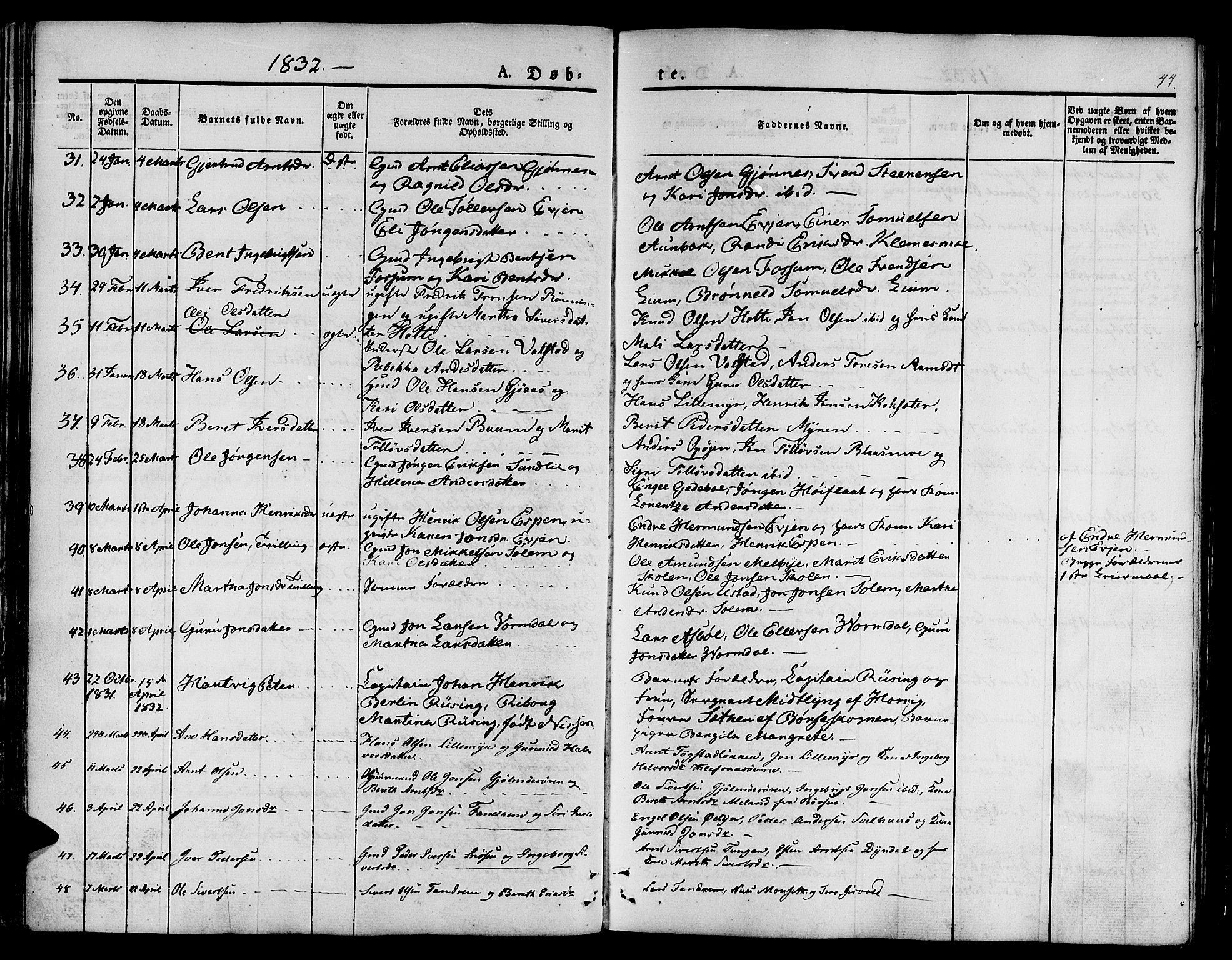 SAT, Ministerialprotokoller, klokkerbøker og fødselsregistre - Sør-Trøndelag, 668/L0804: Ministerialbok nr. 668A04, 1826-1839, s. 44
