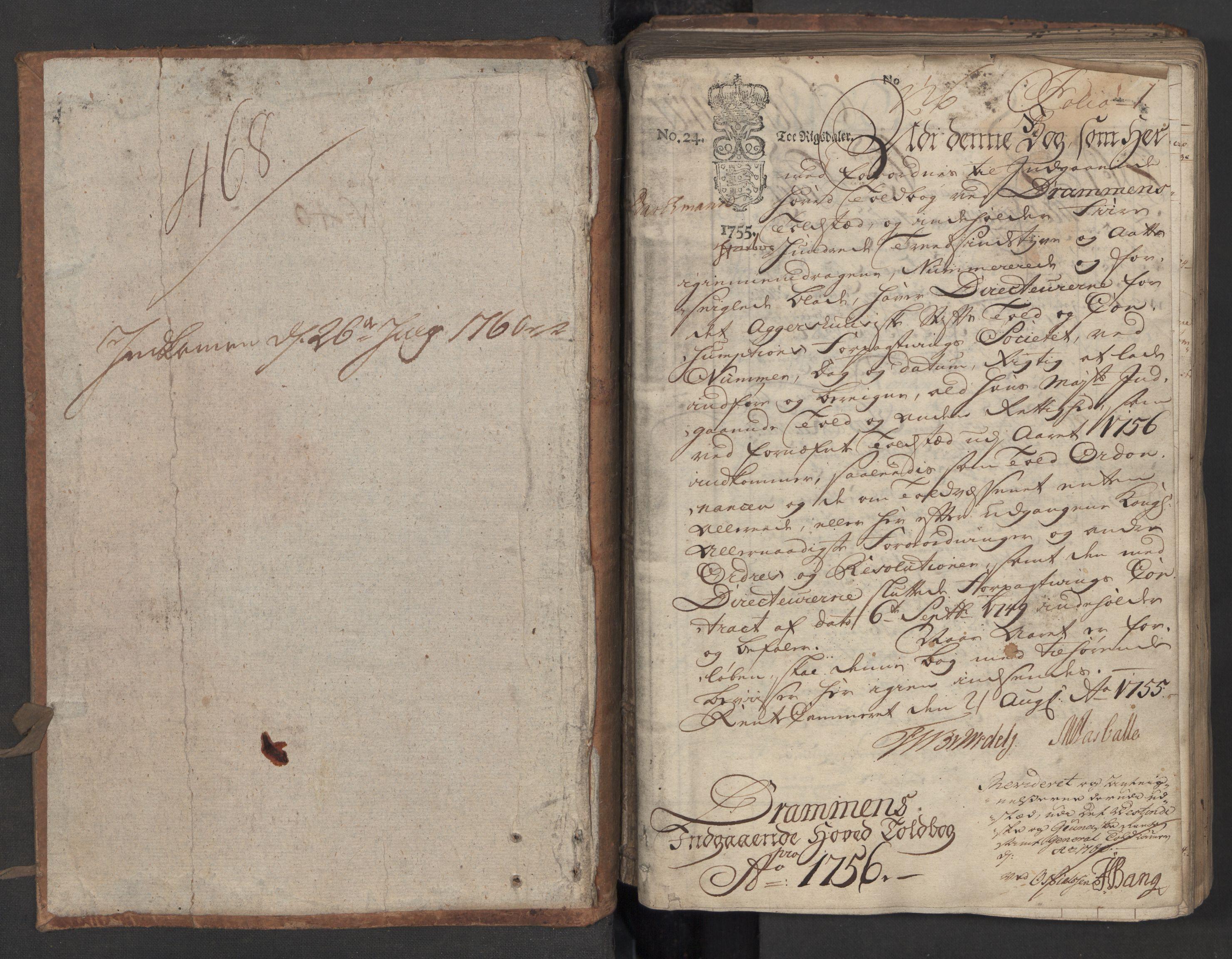 RA, Generaltollkammeret, tollregnskaper, R08/L0034: Tollregnskaper Drammen, 1756, s. 1a