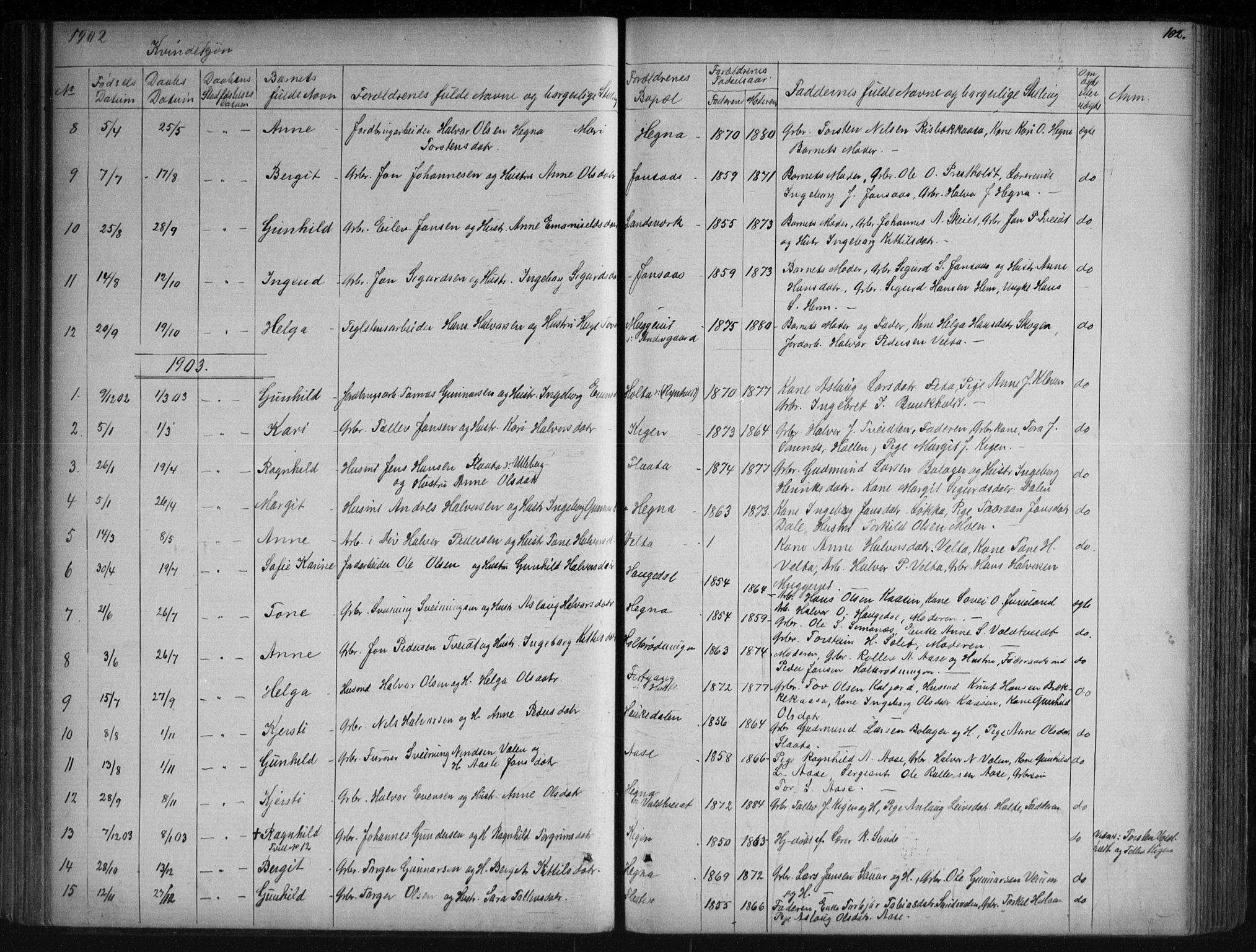 SAKO, Sauherad kirkebøker, G/Ga/L0003: Klokkerbok nr. I 3, 1866-1905, s. 102