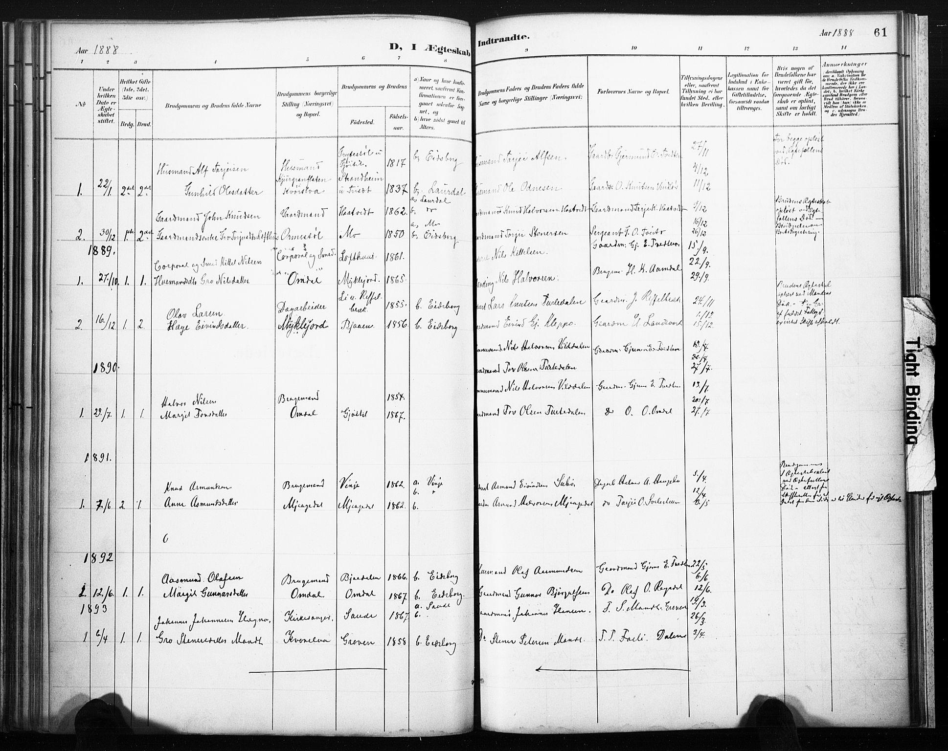 SAKO, Lårdal kirkebøker, F/Fb/L0002: Ministerialbok nr. II 2, 1887-1918, s. 61