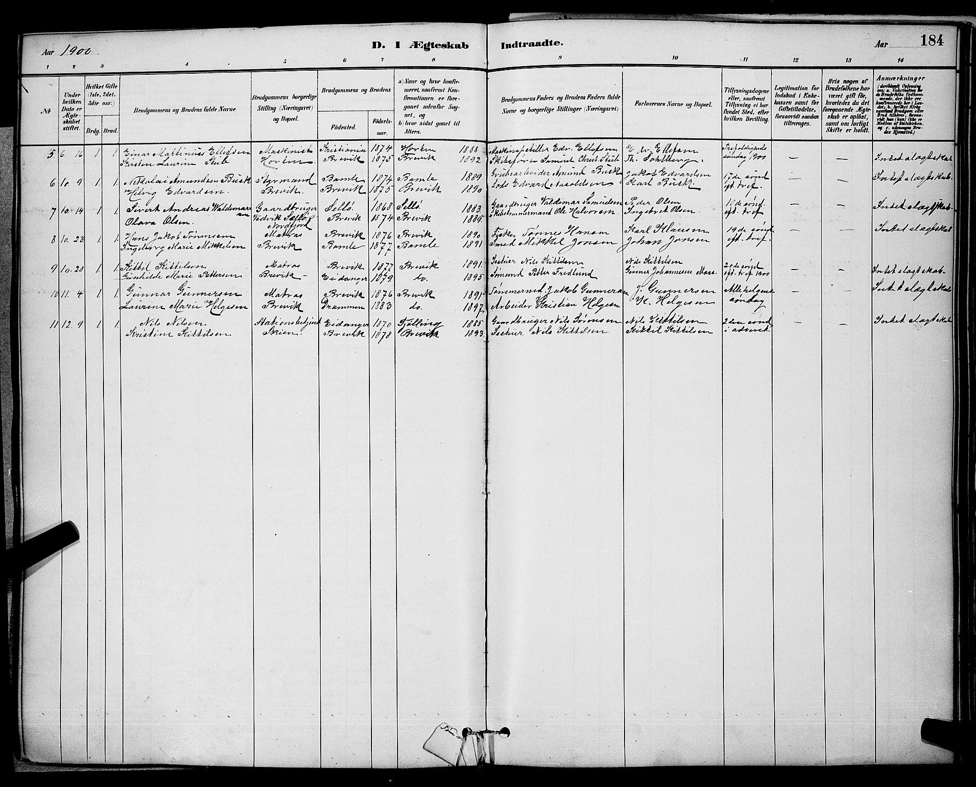 SAKO, Brevik kirkebøker, G/Ga/L0004: Klokkerbok nr. 4, 1882-1900, s. 184