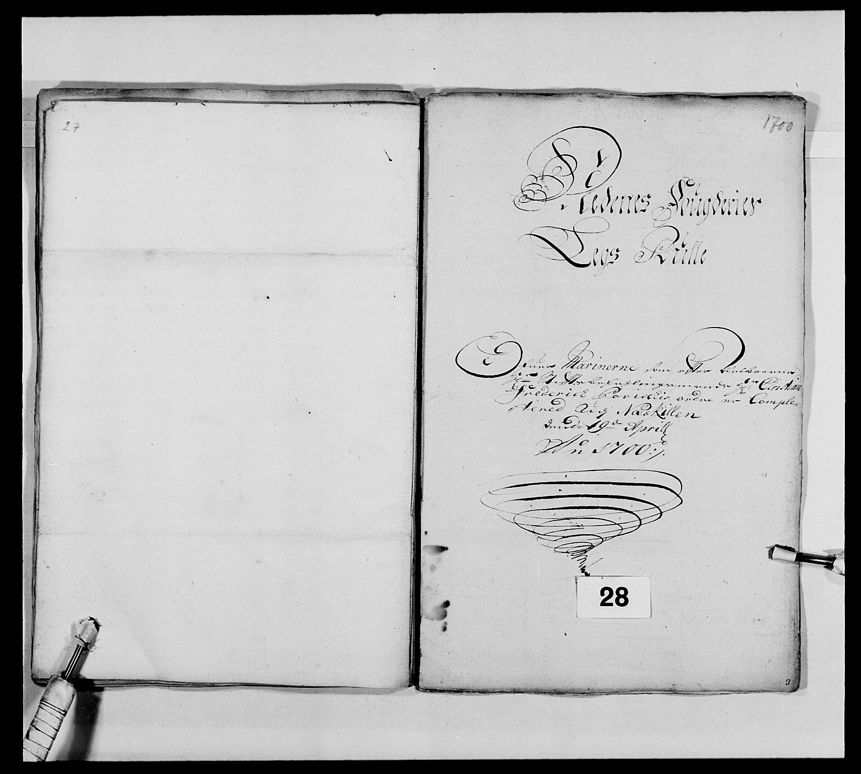 RA, Kommanderende general (KG I) med Det norske krigsdirektorium, E/Ea/L0473: Marineregimentet, 1664-1700, s. 301
