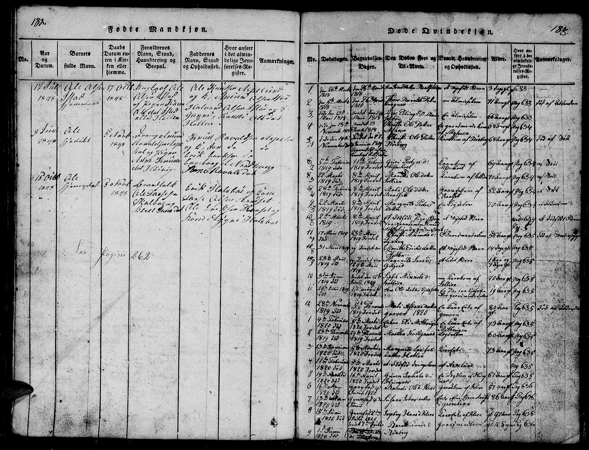 SAT, Ministerialprotokoller, klokkerbøker og fødselsregistre - Møre og Romsdal, 557/L0683: Klokkerbok nr. 557C01, 1818-1862, s. 182-183