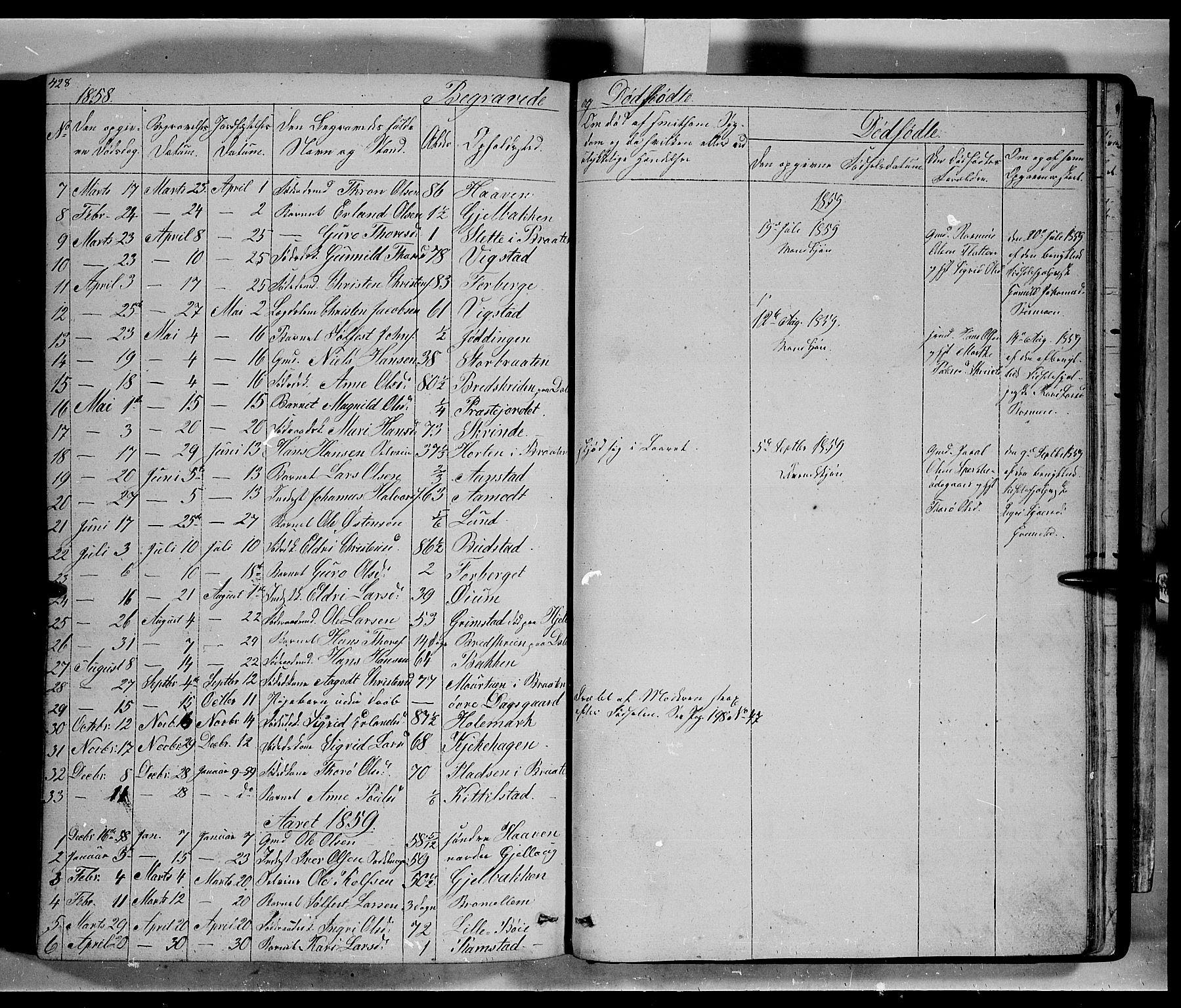 SAH, Lom prestekontor, L/L0004: Klokkerbok nr. 4, 1845-1864, s. 428-429