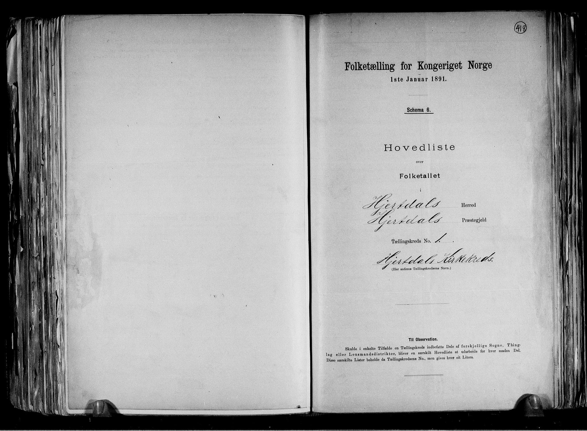 RA, Folketelling 1891 for 0827 Hjartdal herred, 1891, s. 4
