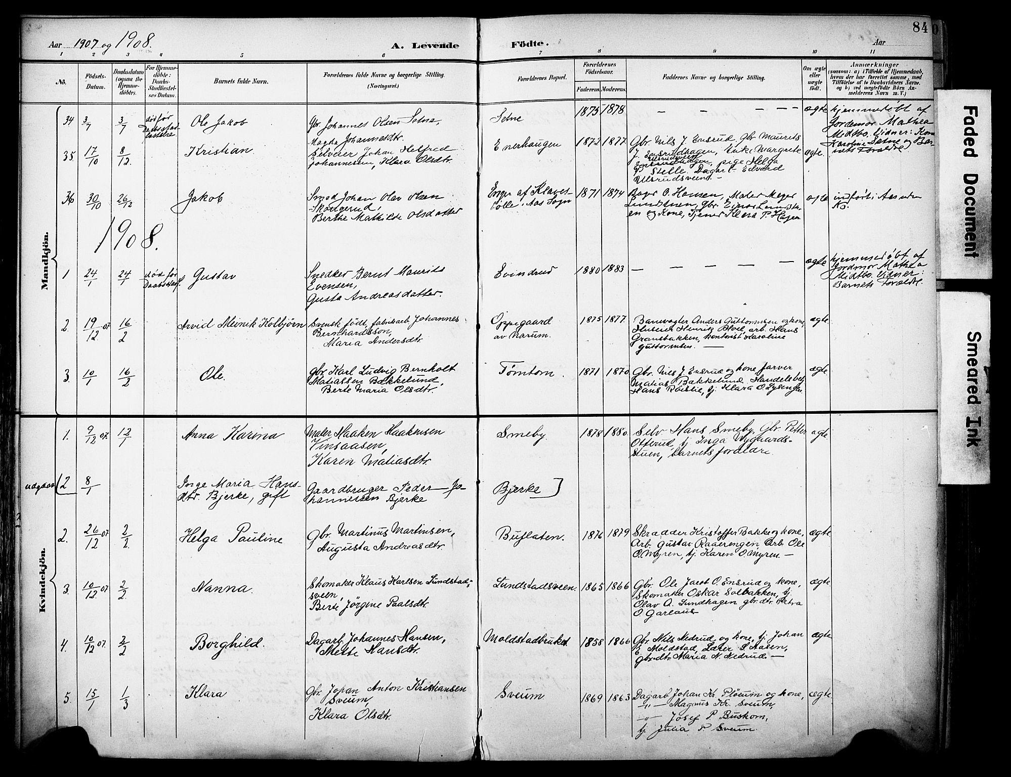 SAH, Vestre Toten prestekontor, H/Ha/Haa/L0013: Ministerialbok nr. 13, 1895-1911, s. 84