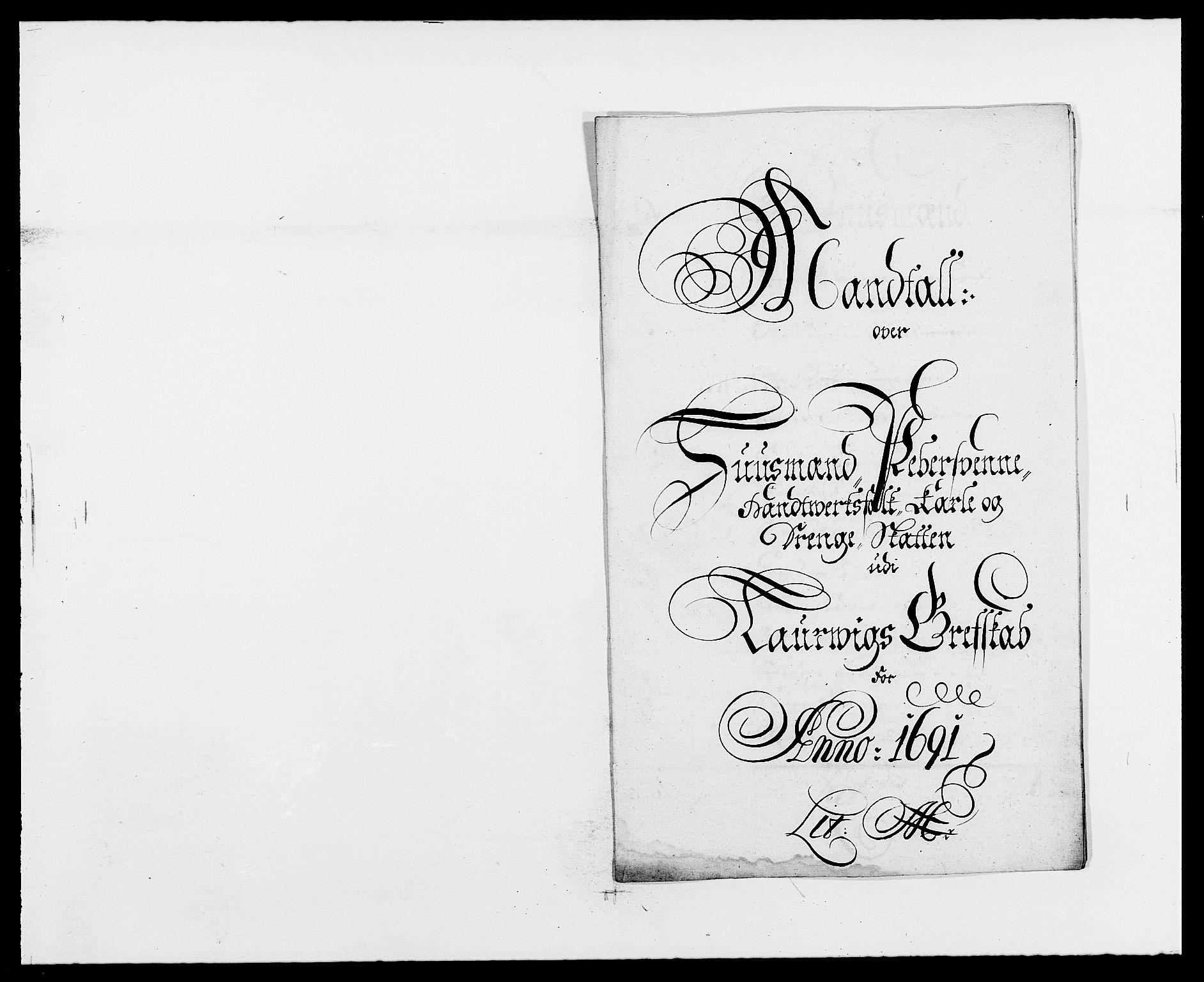 RA, Rentekammeret inntil 1814, Reviderte regnskaper, Fogderegnskap, R33/L1972: Fogderegnskap Larvik grevskap, 1690-1691, s. 344