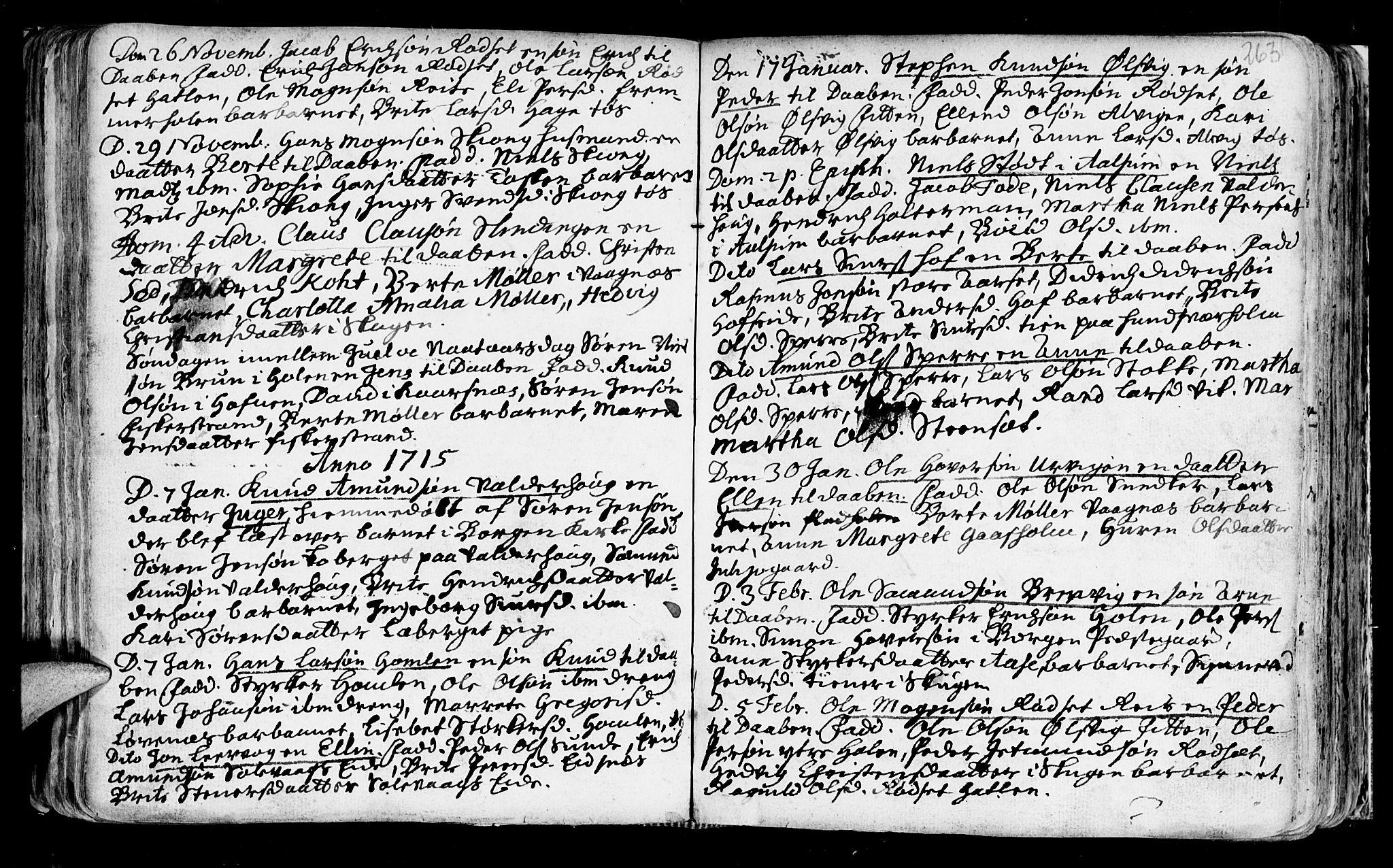 SAT, Ministerialprotokoller, klokkerbøker og fødselsregistre - Møre og Romsdal, 528/L0390: Ministerialbok nr. 528A01, 1698-1739, s. 262-263