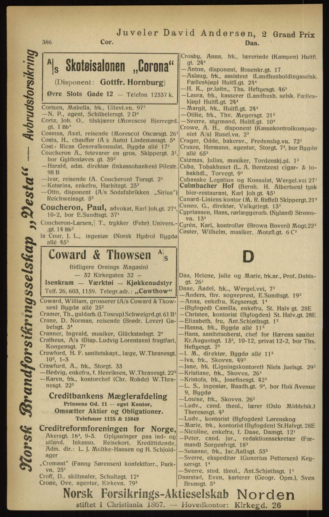 RA, Kristiania adressebok (publikasjon)*, 1916, s. 386