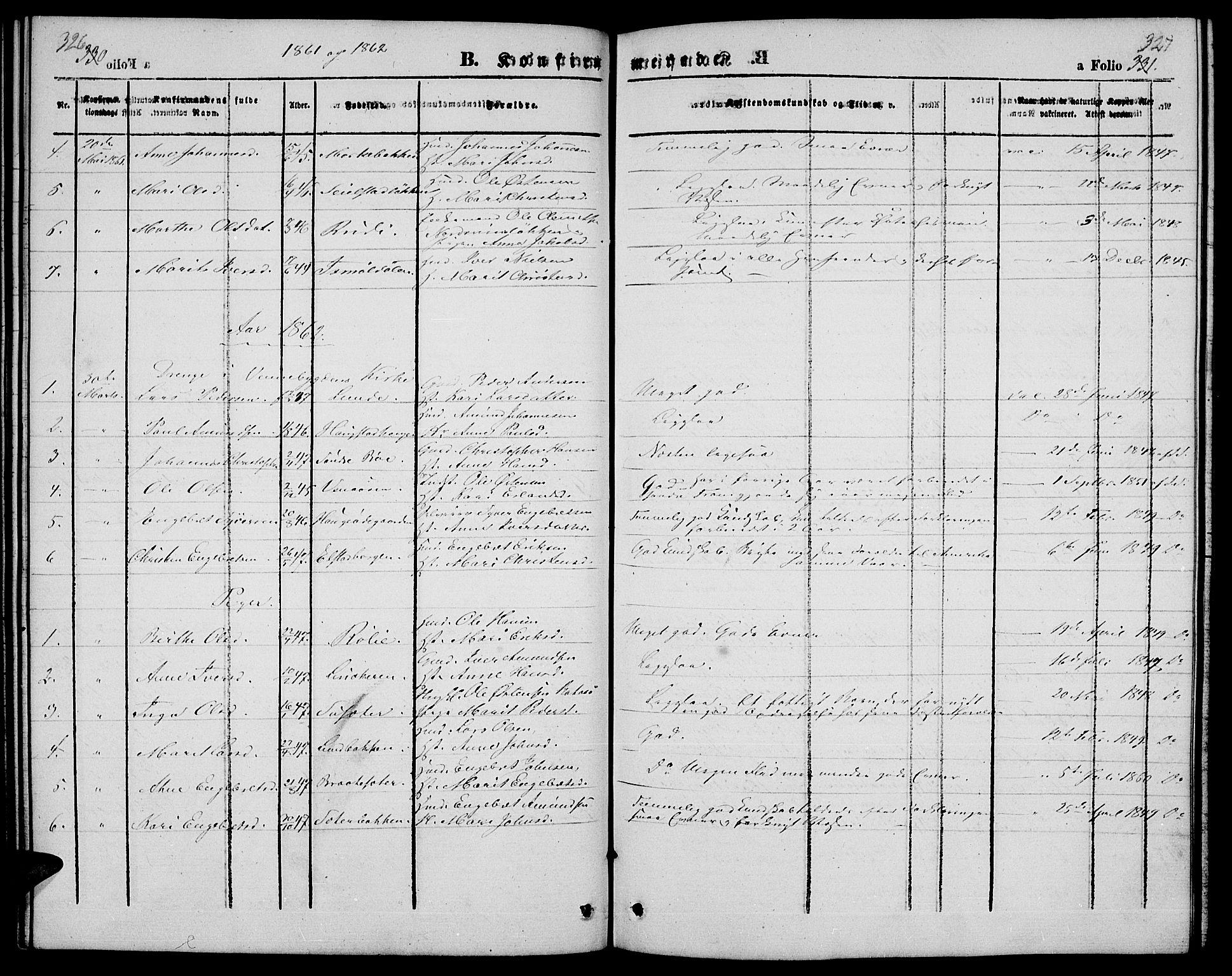 SAH, Ringebu prestekontor, Klokkerbok nr. 3, 1854-1866, s. 326-327