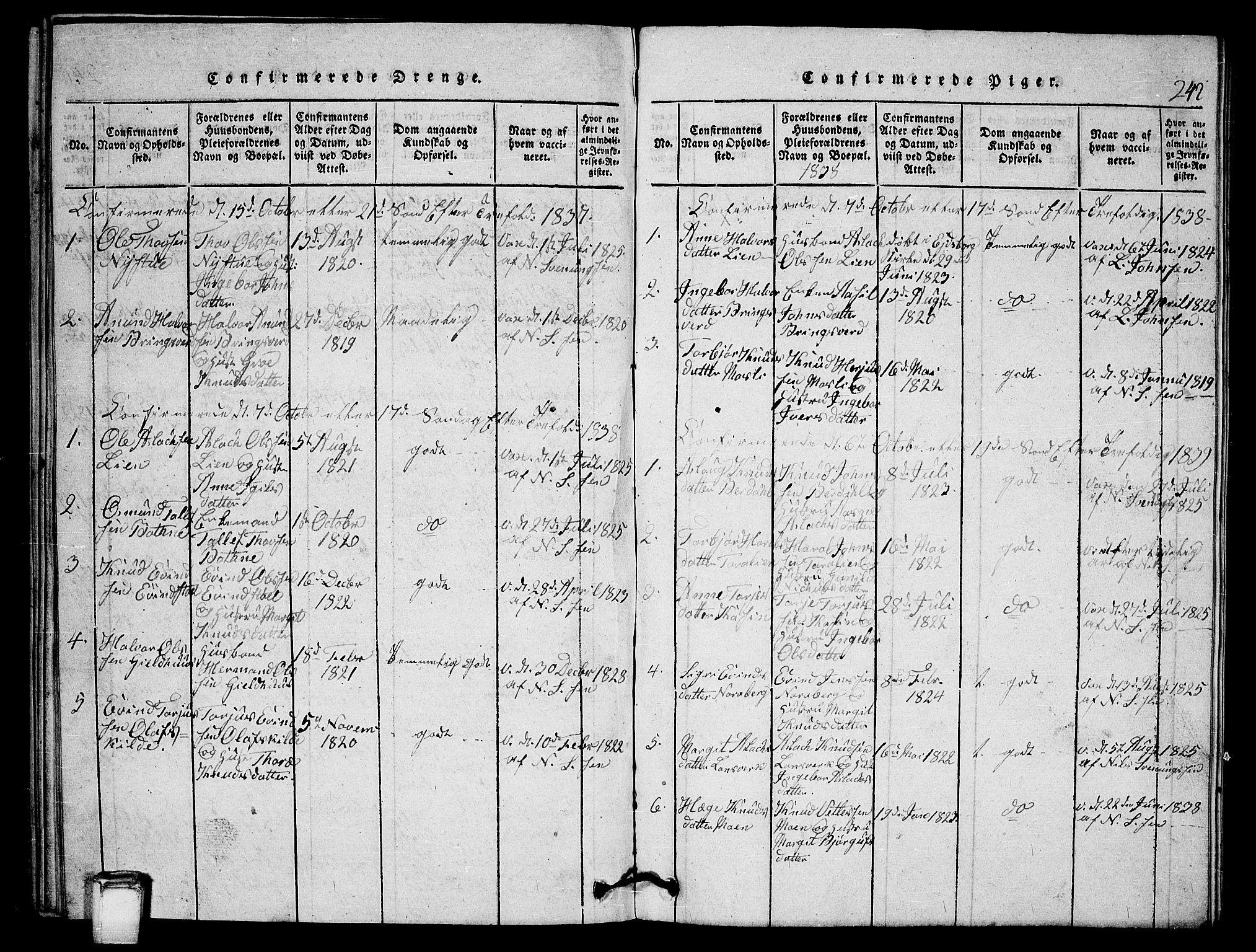 SAKO, Vinje kirkebøker, G/Gb/L0001: Klokkerbok nr. II 1, 1814-1843, s. 242