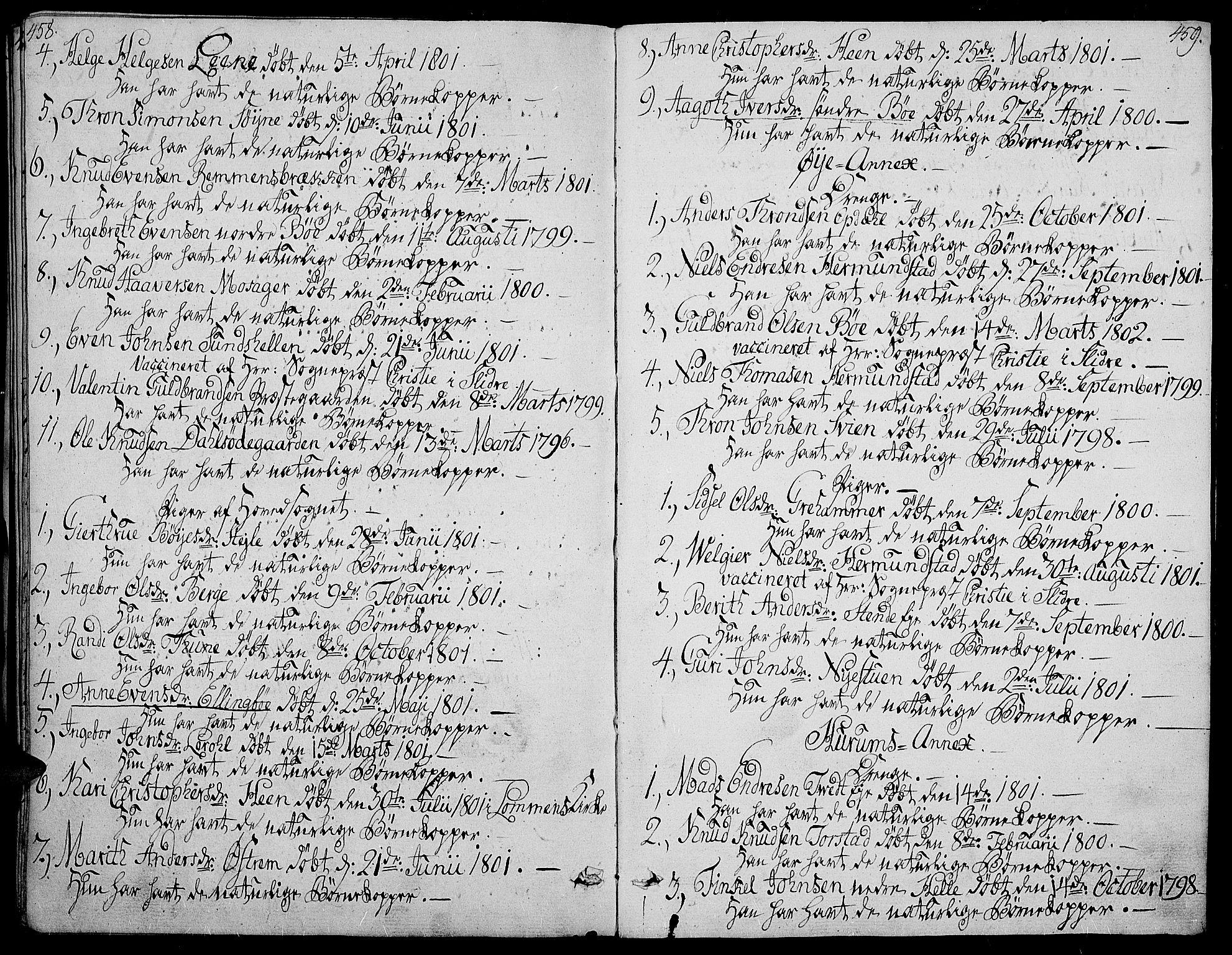 SAH, Vang prestekontor, Valdres, Ministerialbok nr. 3, 1809-1831, s. 458-459