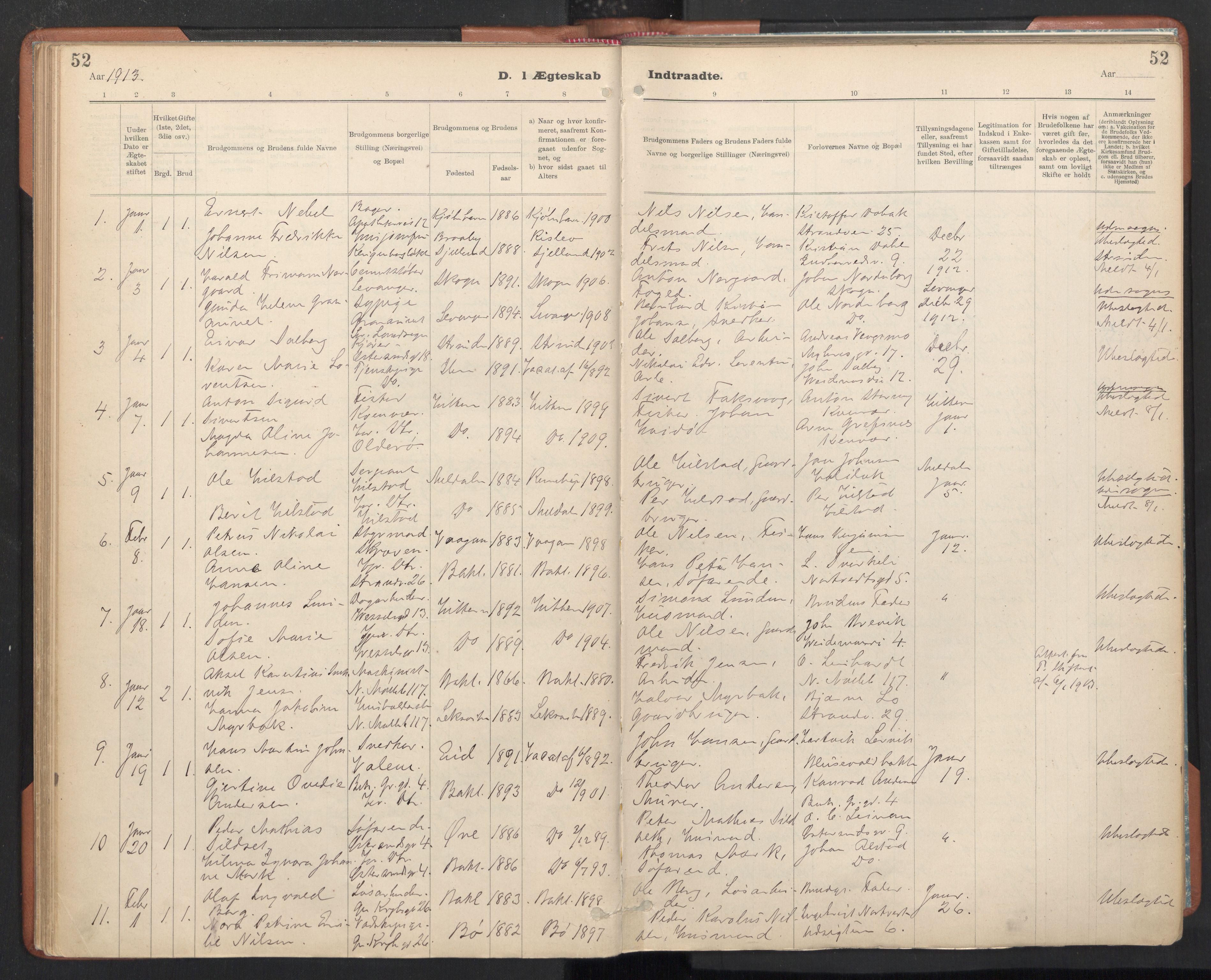 SAT, Ministerialprotokoller, klokkerbøker og fødselsregistre - Sør-Trøndelag, 605/L0244: Ministerialbok nr. 605A06, 1908-1954, s. 52