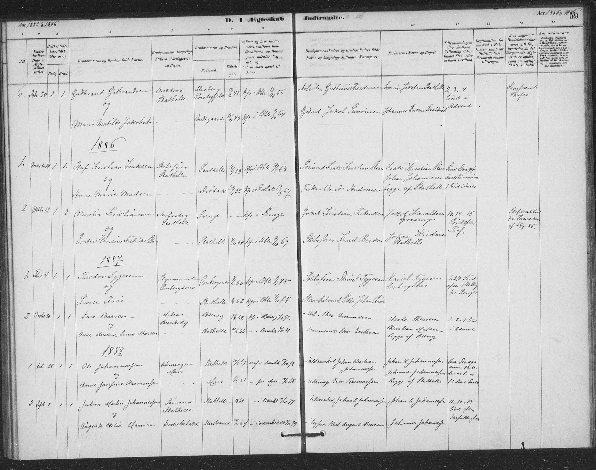 SAKO, Bamble kirkebøker, F/Fb/L0001: Ministerialbok nr. II 1, 1878-1899, s. 59