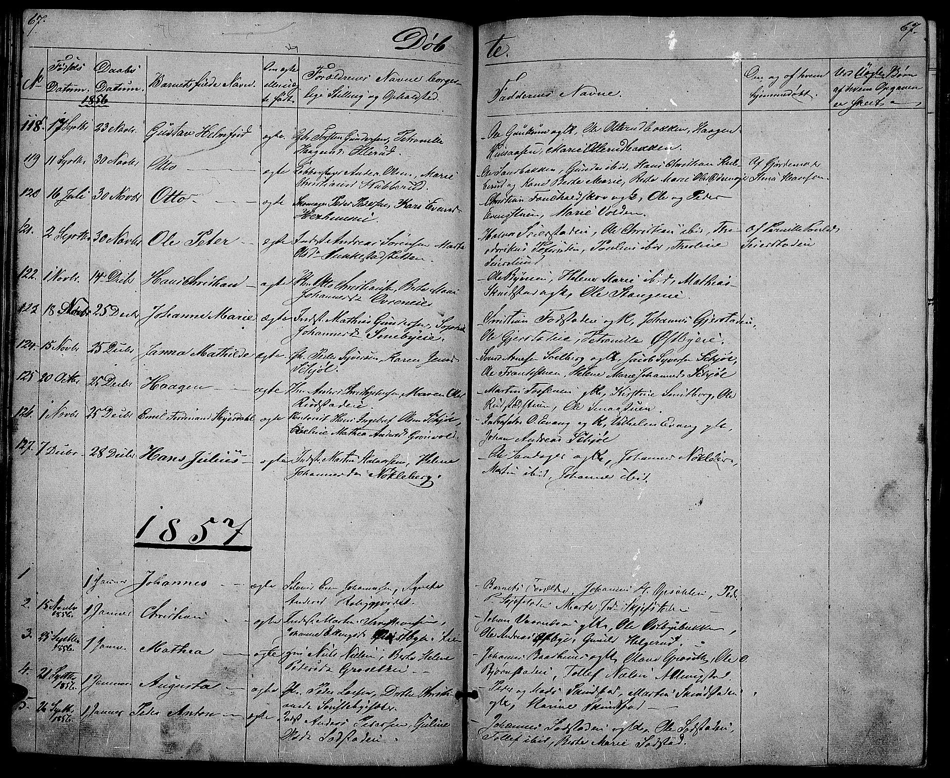 SAH, Østre Toten prestekontor, Klokkerbok nr. 3, 1848-1857, s. 67