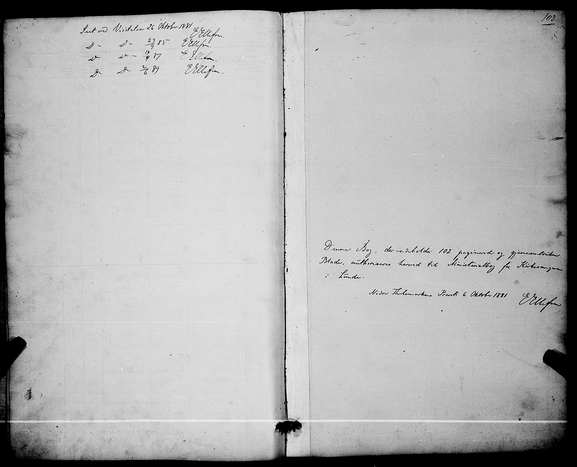 SAKO, Lunde kirkebøker, G/Ga/L0001b: Klokkerbok nr. I 1, 1879-1887, s. 103