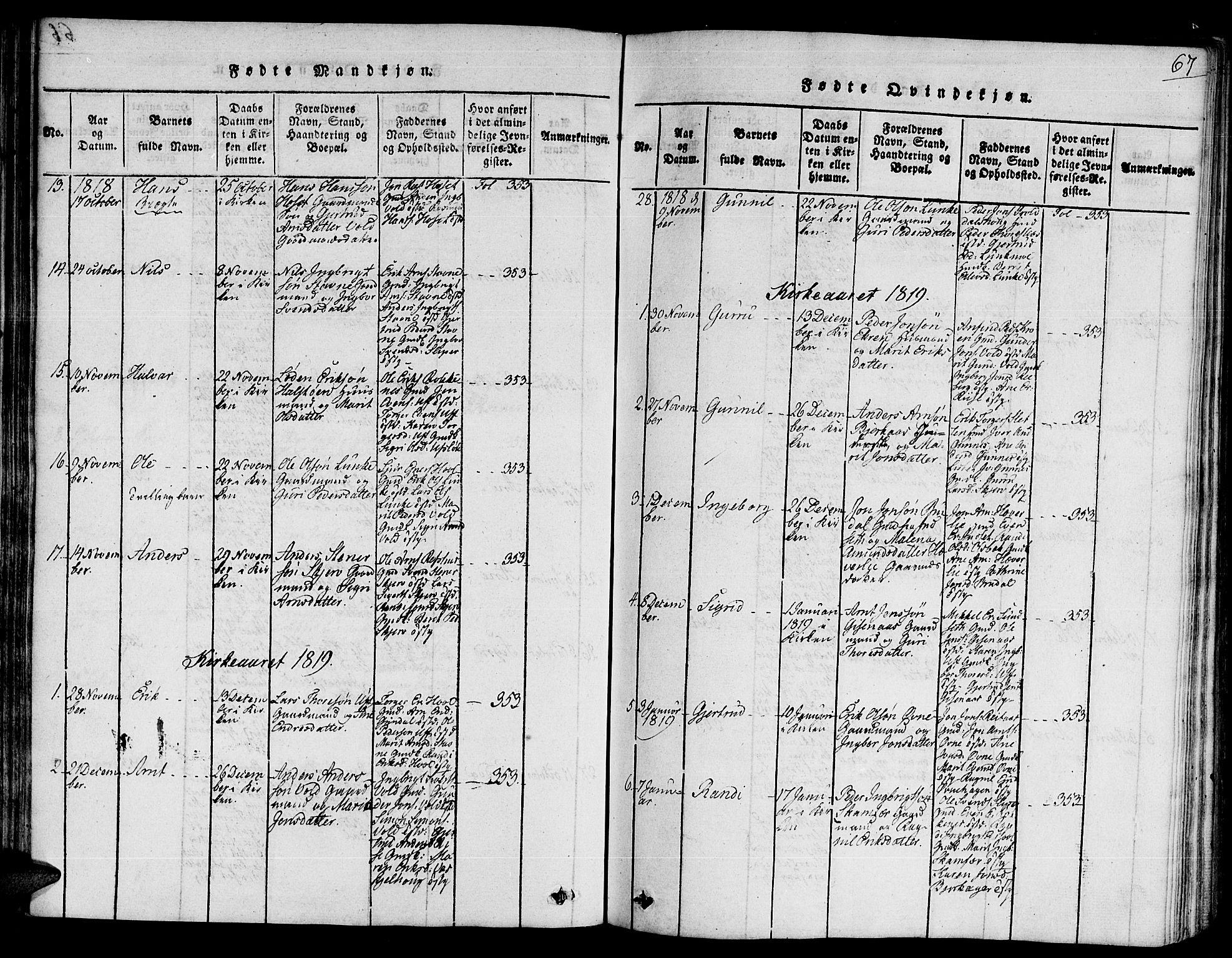 SAT, Ministerialprotokoller, klokkerbøker og fødselsregistre - Sør-Trøndelag, 672/L0854: Ministerialbok nr. 672A06 /2, 1816-1829, s. 67