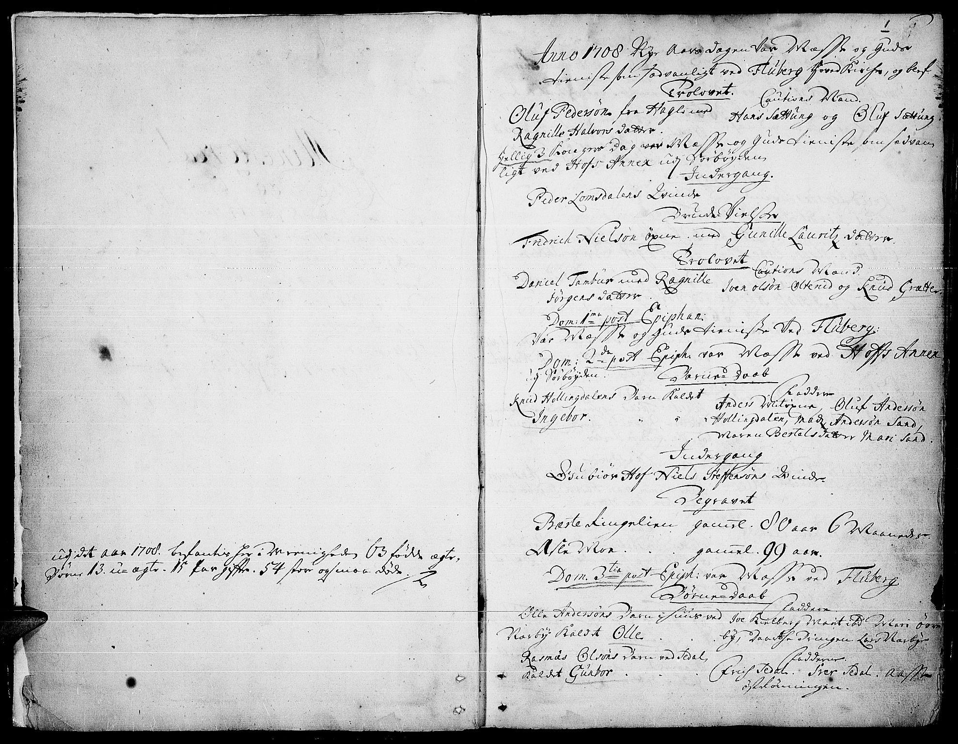 SAH, Land prestekontor, Ministerialbok nr. 1, 1708-1732, s. 0-1
