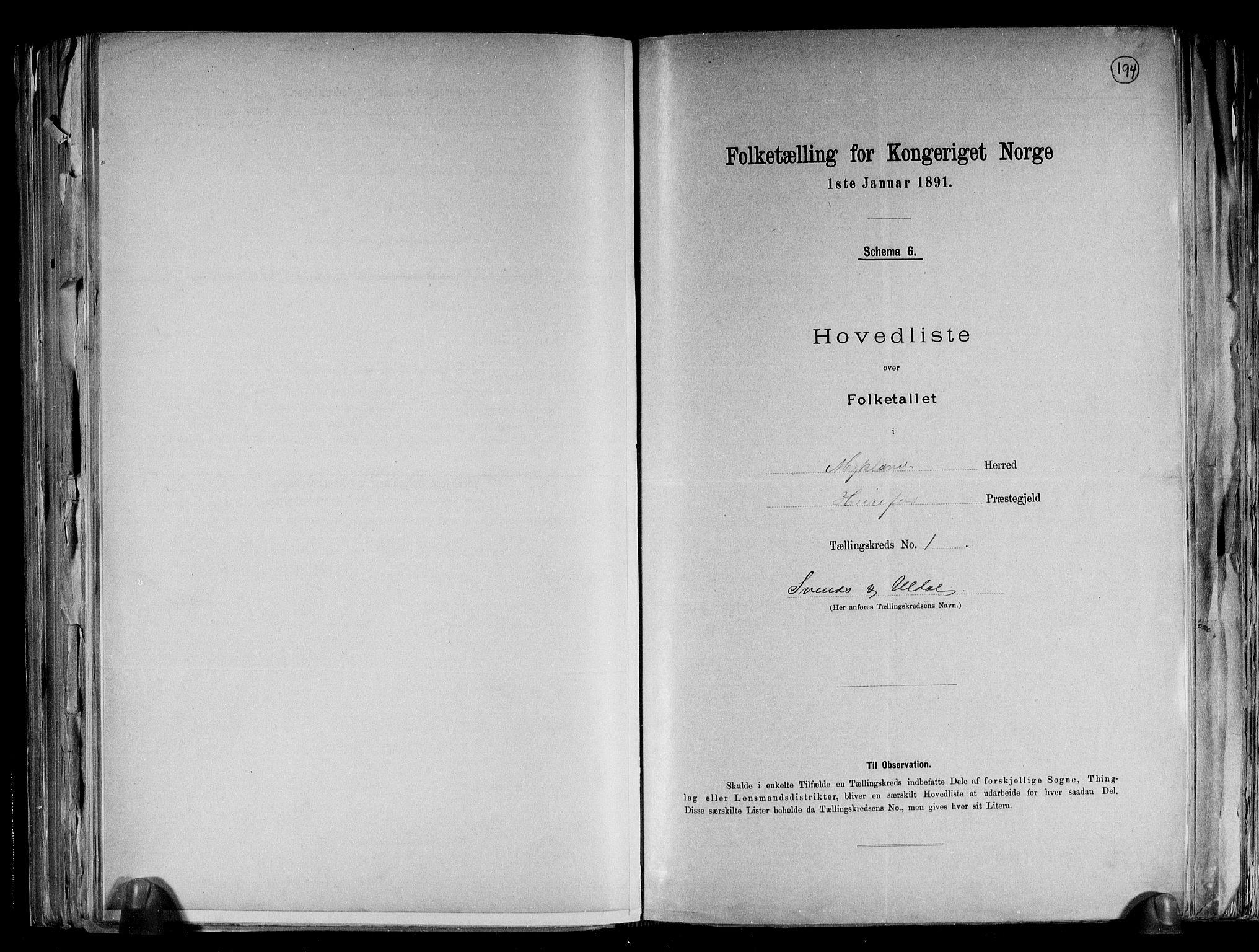 RA, Folketelling 1891 for 0932 Mykland herred, 1891, s. 4