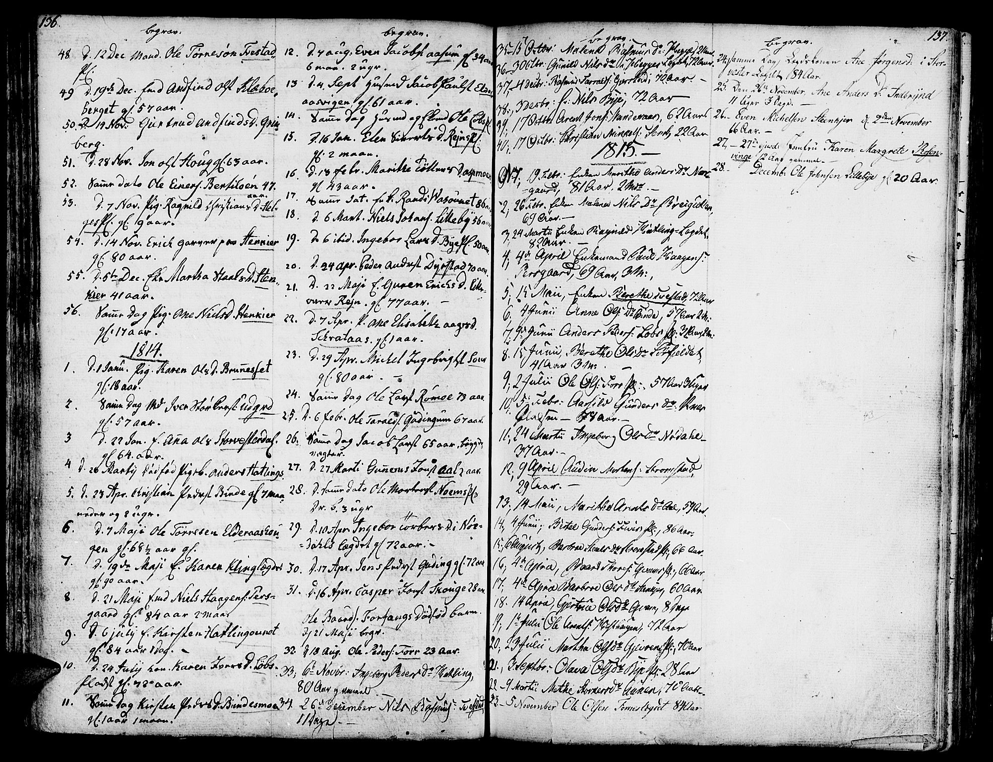 SAT, Ministerialprotokoller, klokkerbøker og fødselsregistre - Nord-Trøndelag, 746/L0440: Ministerialbok nr. 746A02, 1760-1815, s. 136-137