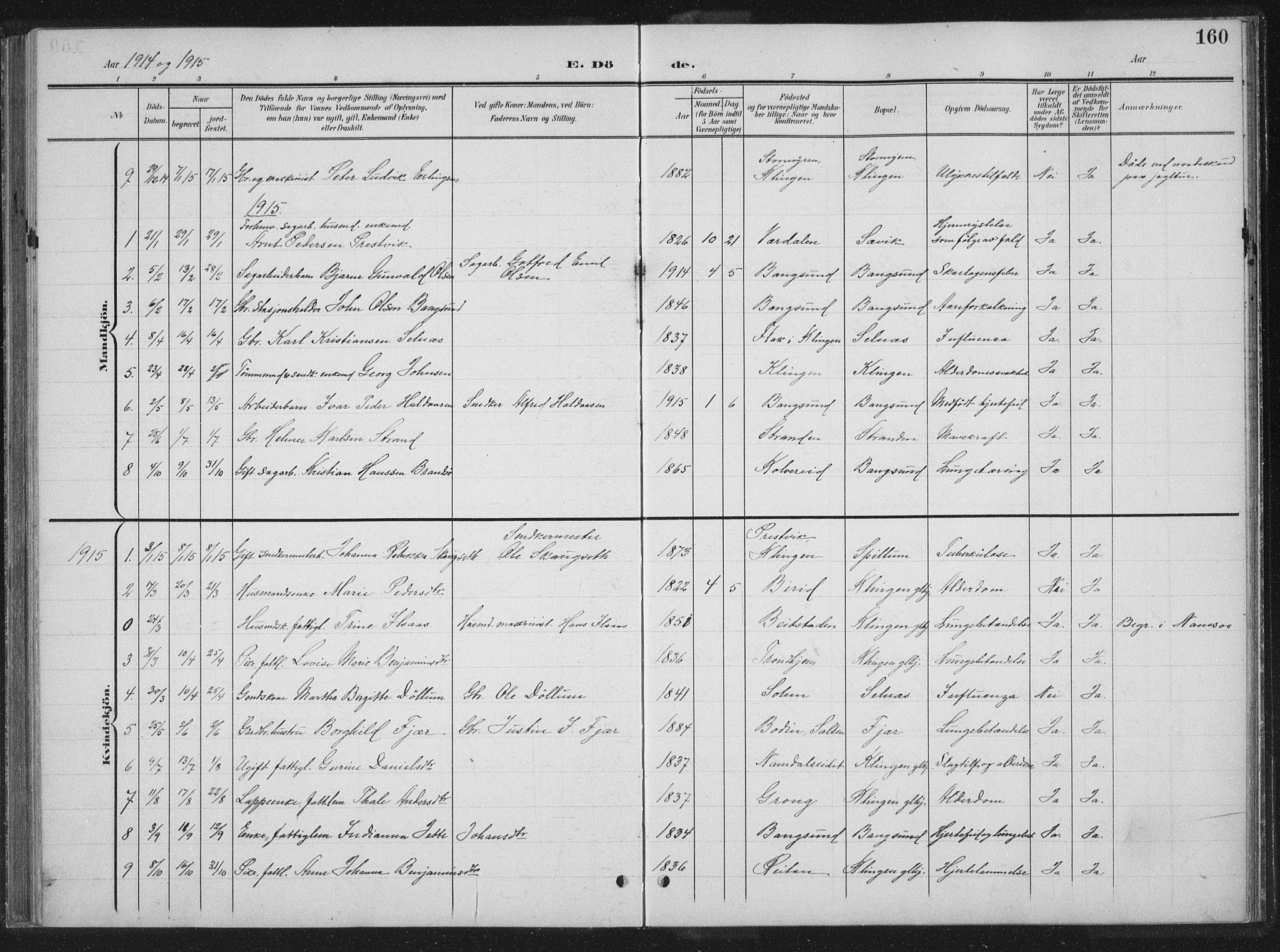 SAT, Ministerialprotokoller, klokkerbøker og fødselsregistre - Nord-Trøndelag, 770/L0591: Klokkerbok nr. 770C02, 1902-1940, s. 160