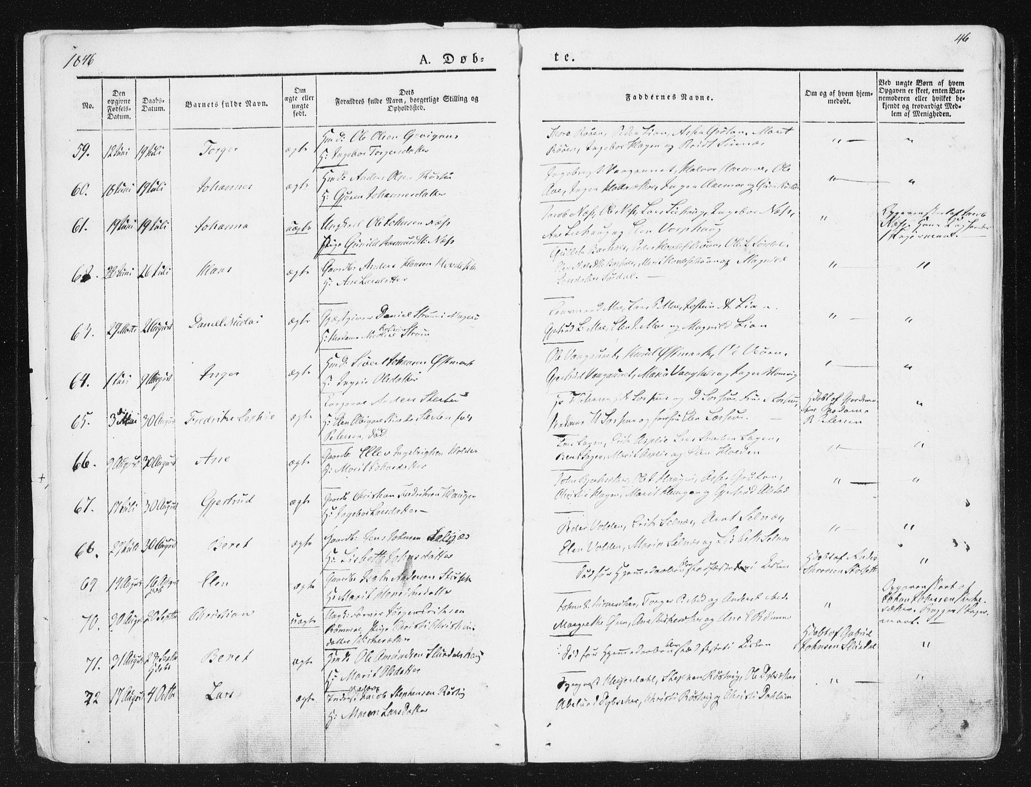 SAT, Ministerialprotokoller, klokkerbøker og fødselsregistre - Sør-Trøndelag, 630/L0493: Ministerialbok nr. 630A06, 1841-1851, s. 46