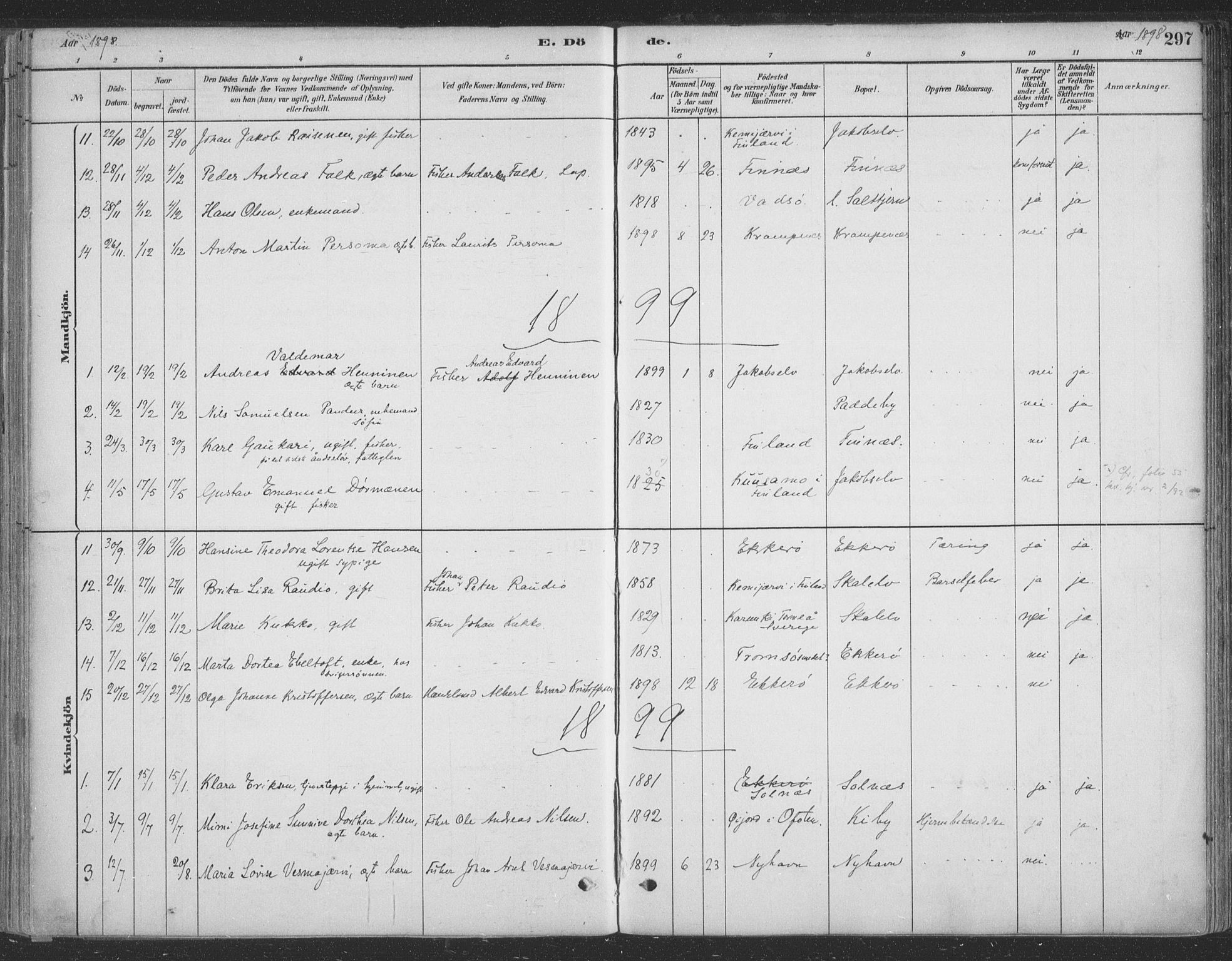 SATØ, Vadsø sokneprestkontor, H/Ha/L0009kirke: Ministerialbok nr. 9, 1881-1917, s. 297