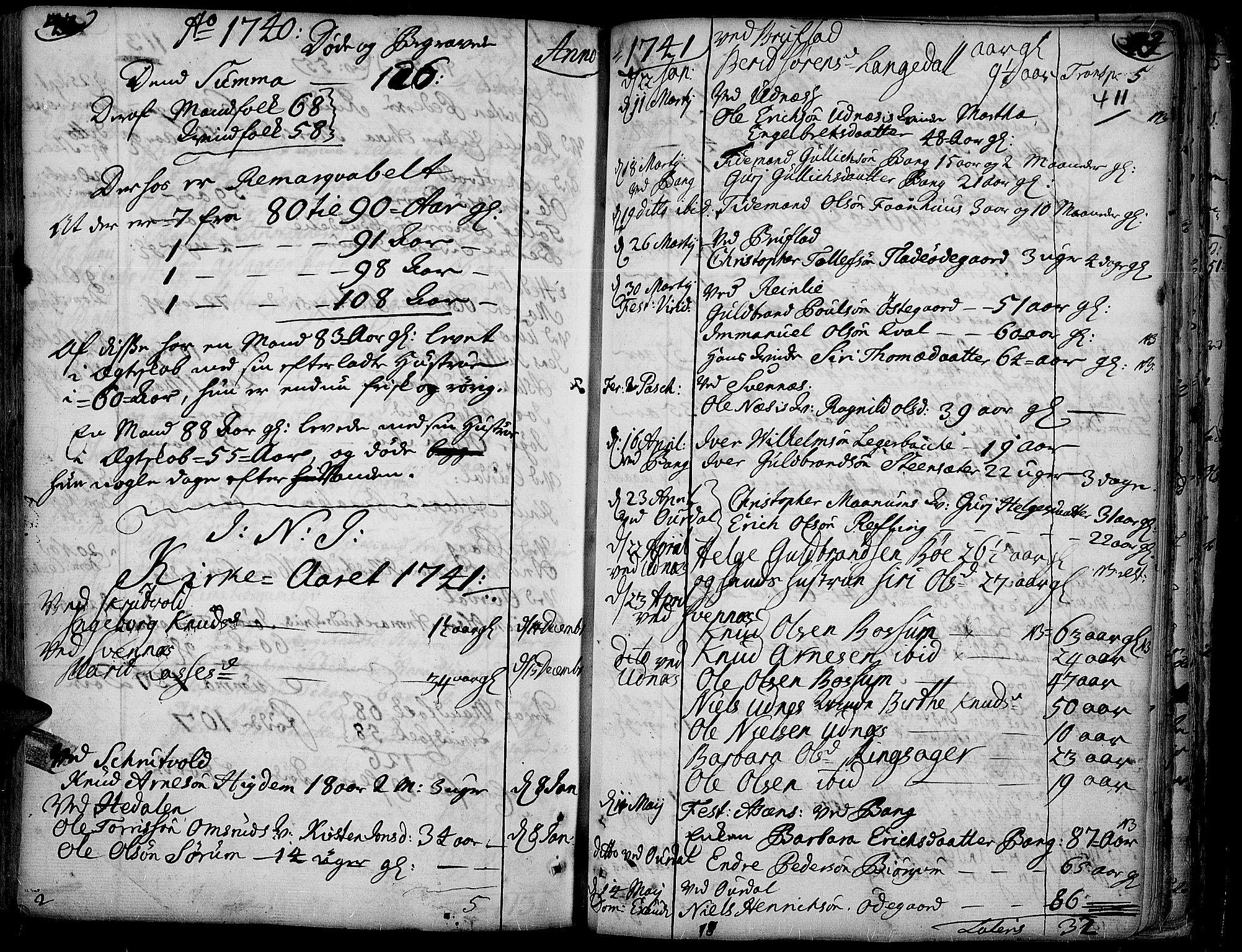 SAH, Aurdal prestekontor, Ministerialbok nr. 4, 1730-1762, s. 42-43
