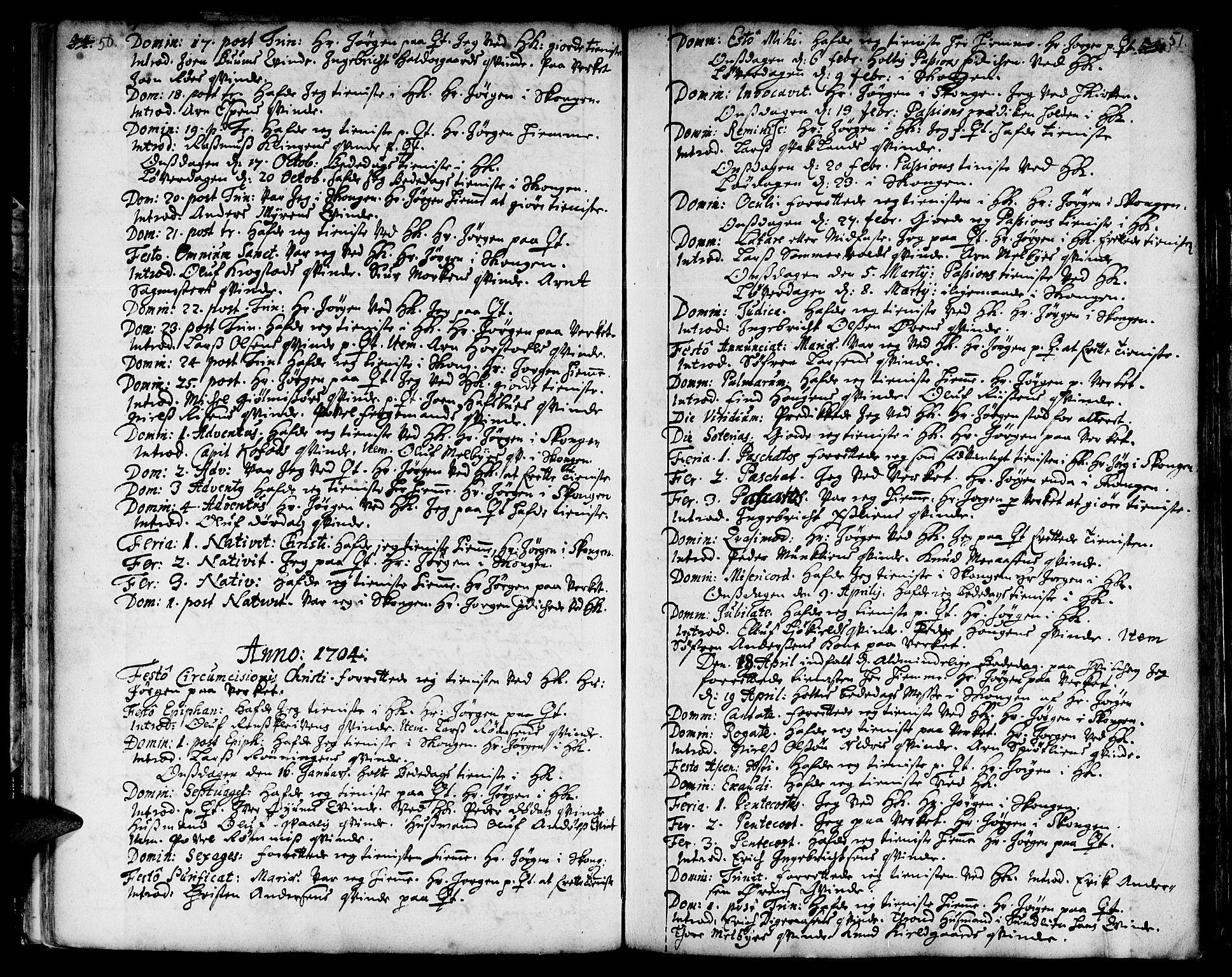 SAT, Ministerialprotokoller, klokkerbøker og fødselsregistre - Sør-Trøndelag, 668/L0801: Ministerialbok nr. 668A01, 1695-1716, s. 50-51