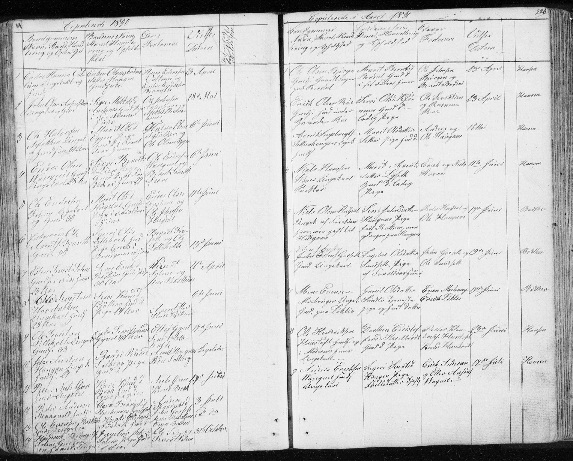 SAT, Ministerialprotokoller, klokkerbøker og fødselsregistre - Sør-Trøndelag, 689/L1043: Klokkerbok nr. 689C02, 1816-1892, s. 220