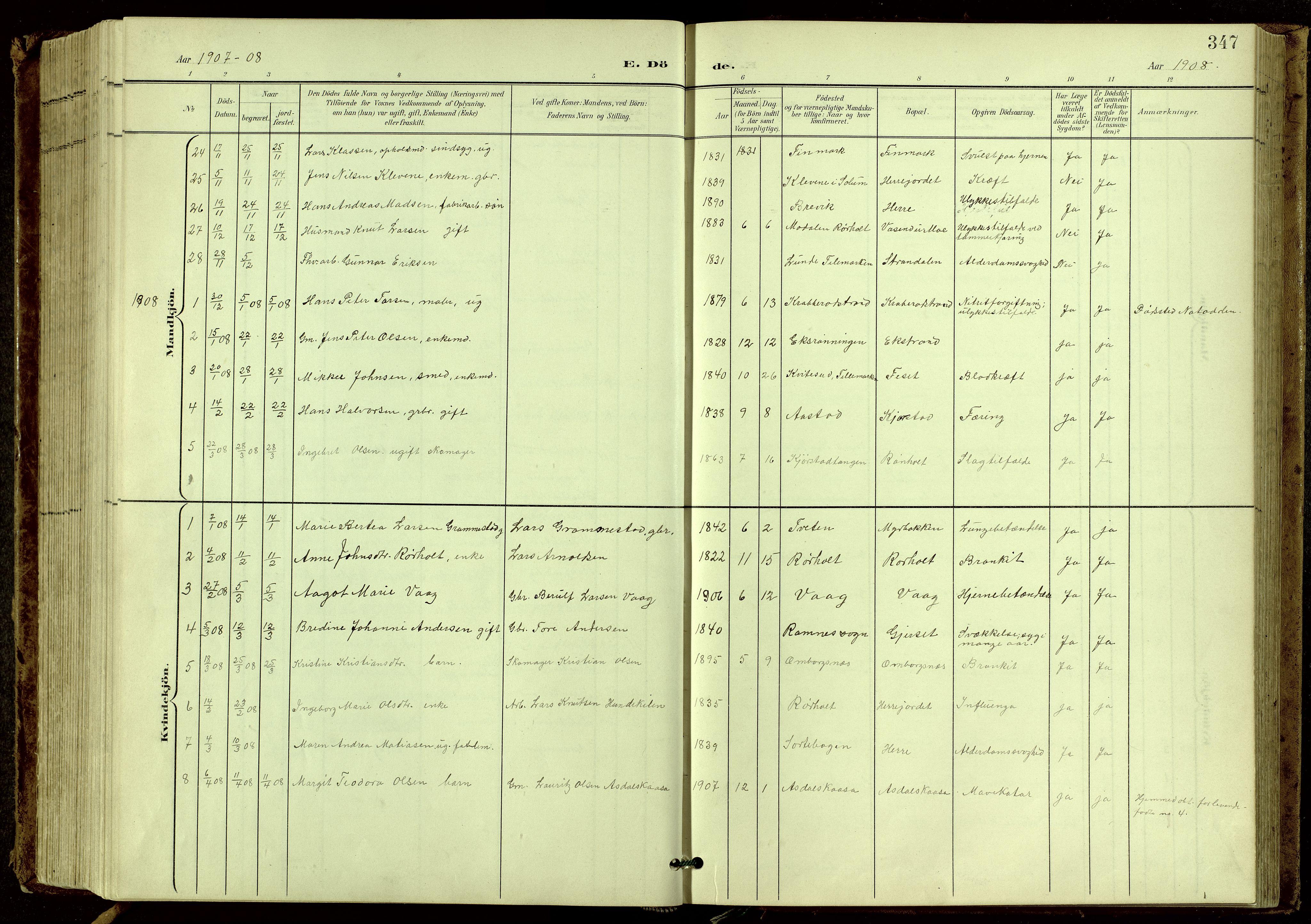 SAKO, Bamble kirkebøker, G/Ga/L0010: Klokkerbok nr. I 10, 1901-1919, s. 347
