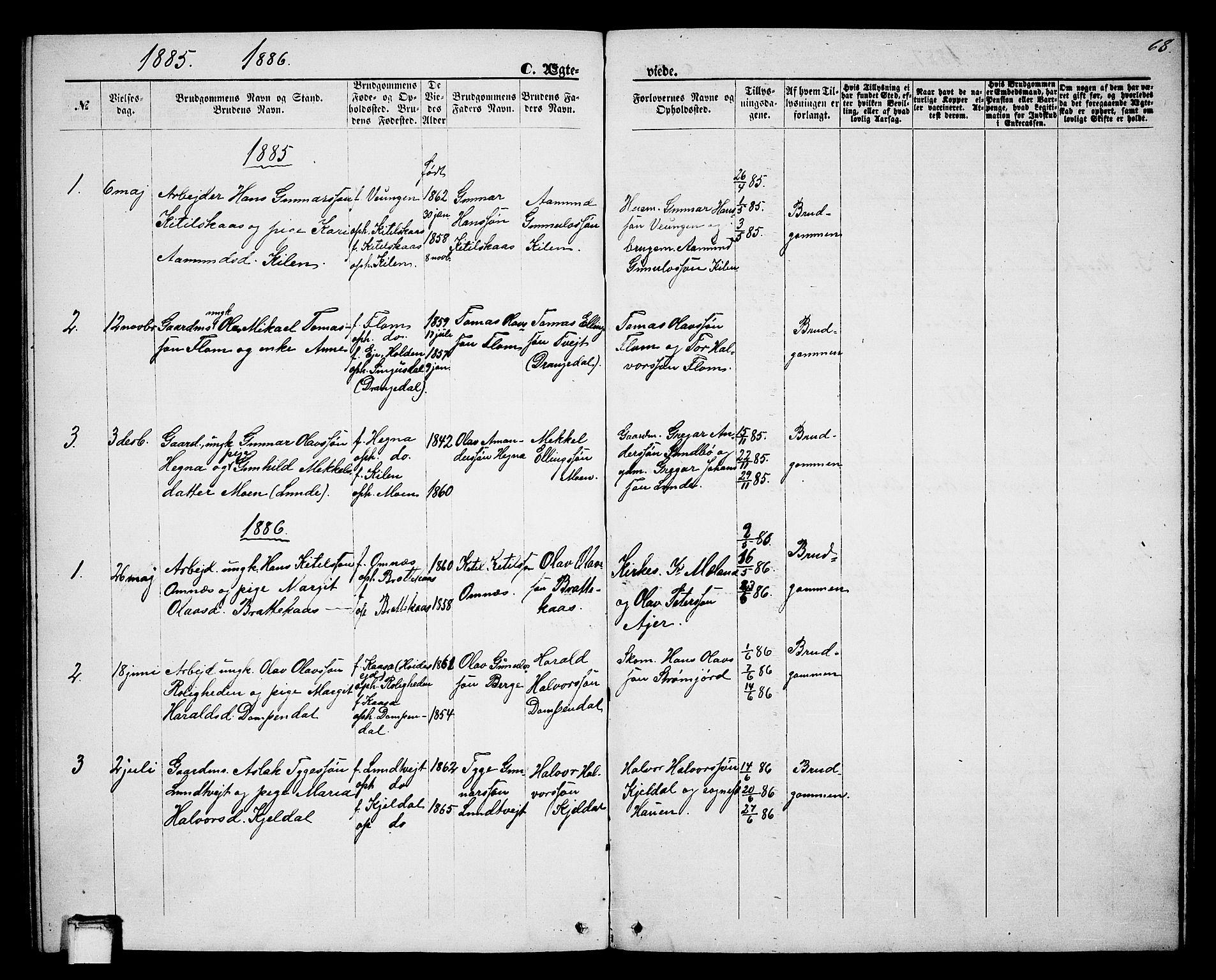 SAKO, Lunde kirkebøker, G/Gb/L0001: Klokkerbok nr. II 1, 1866-1887, s. 68